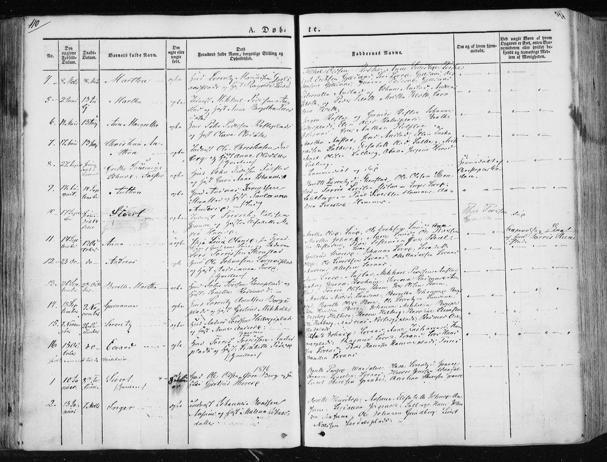 SAT, Ministerialprotokoller, klokkerbøker og fødselsregistre - Nord-Trøndelag, 730/L0280: Ministerialbok nr. 730A07 /2, 1840-1854, s. 110