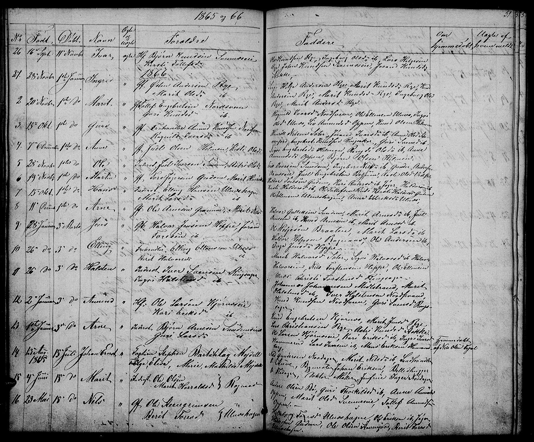 SAH, Nord-Aurdal prestekontor, Klokkerbok nr. 4, 1842-1882, s. 51
