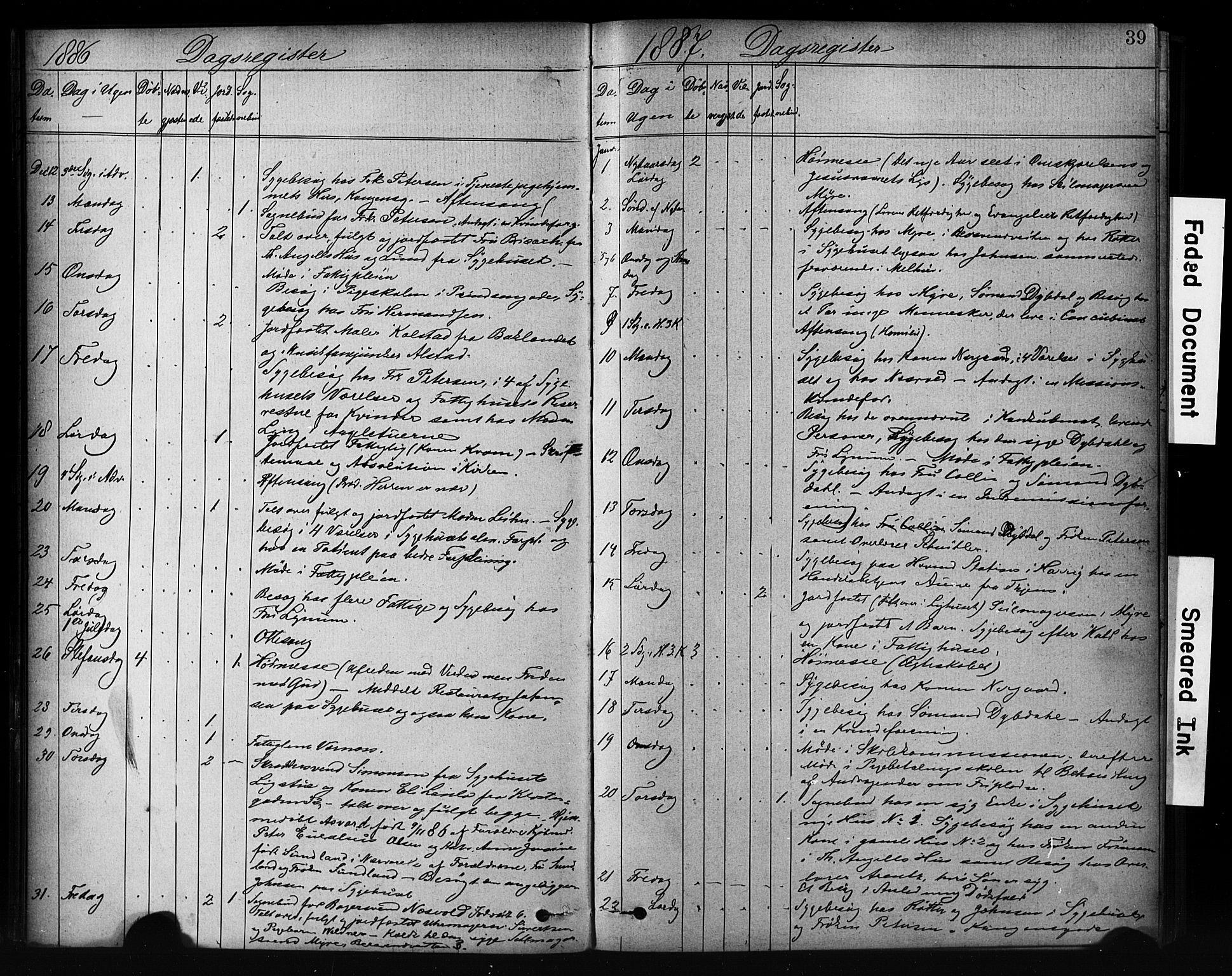 SAT, Ministerialprotokoller, klokkerbøker og fødselsregistre - Sør-Trøndelag, 601/L0071: Residerende kapellans bok nr. 601B04, 1882-1931, s. 39