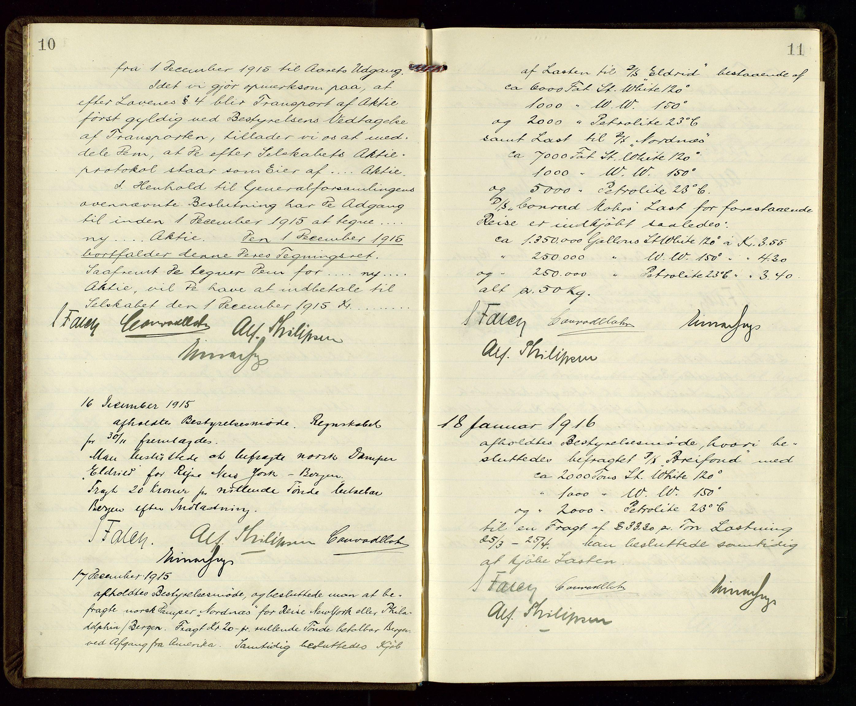 SAST, PA 1533 - A/S Vestlandske Petroleumscompani, A/Aa/L0001: Generalforsamlinger og styreprotokoller, 1915-1922, s. 10-11
