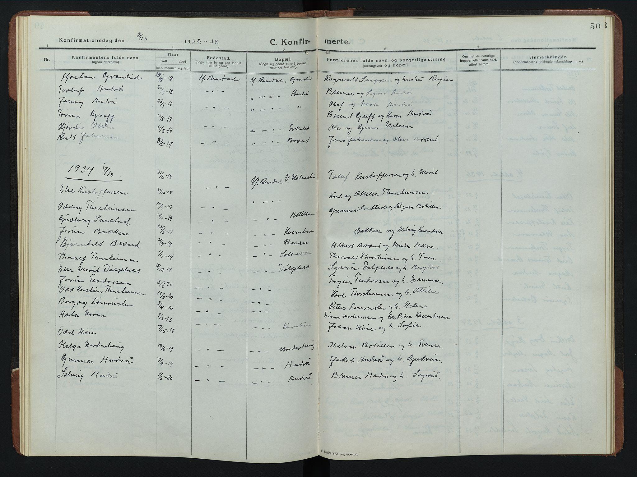 SAH, Rendalen prestekontor, H/Ha/Hab/L0008: Klokkerbok nr. 8, 1914-1948, s. 50