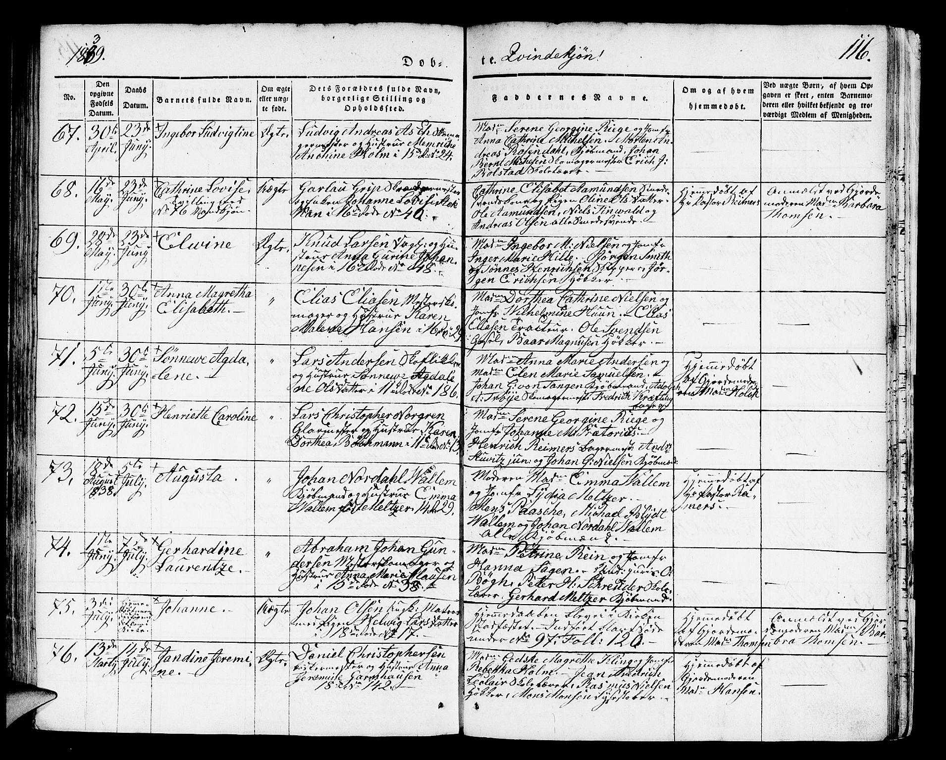 SAB, Domkirken sokneprestembete, H/Hab/L0008: Klokkerbok nr. B 1, 1836-1841, s. 116
