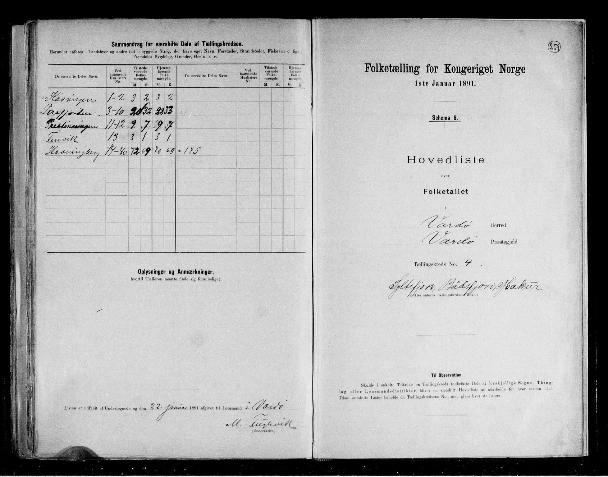 RA, Folketelling 1891 for 2028 Vardø herred, 1891, s. 12