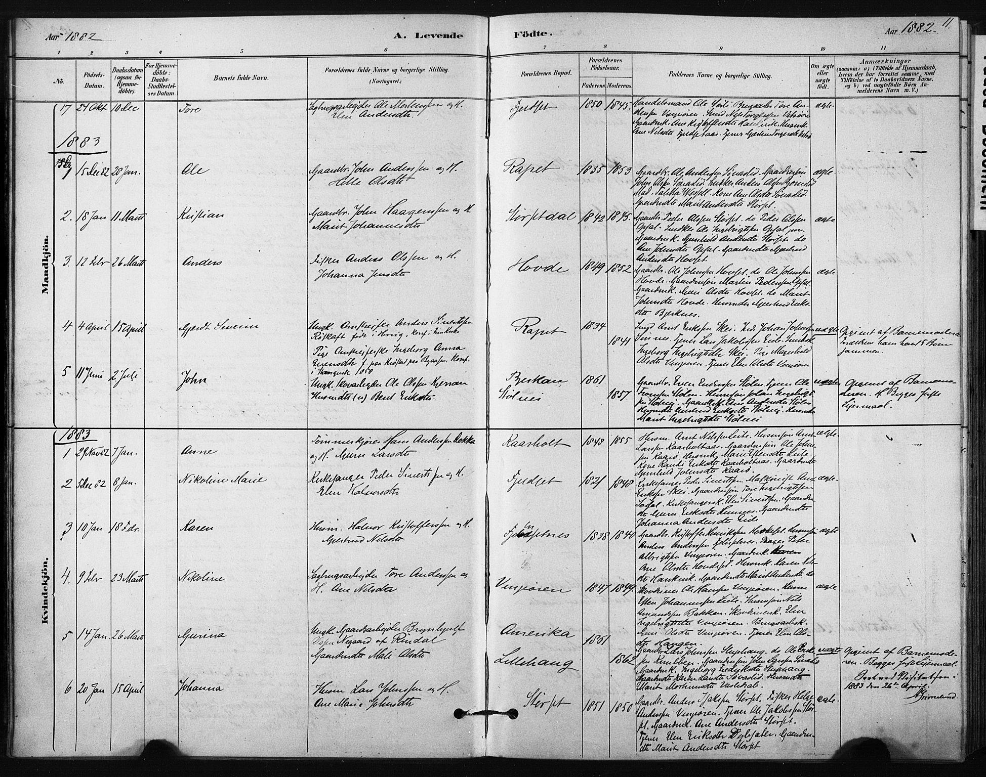 SAT, Ministerialprotokoller, klokkerbøker og fødselsregistre - Sør-Trøndelag, 631/L0512: Ministerialbok nr. 631A01, 1879-1912, s. 11