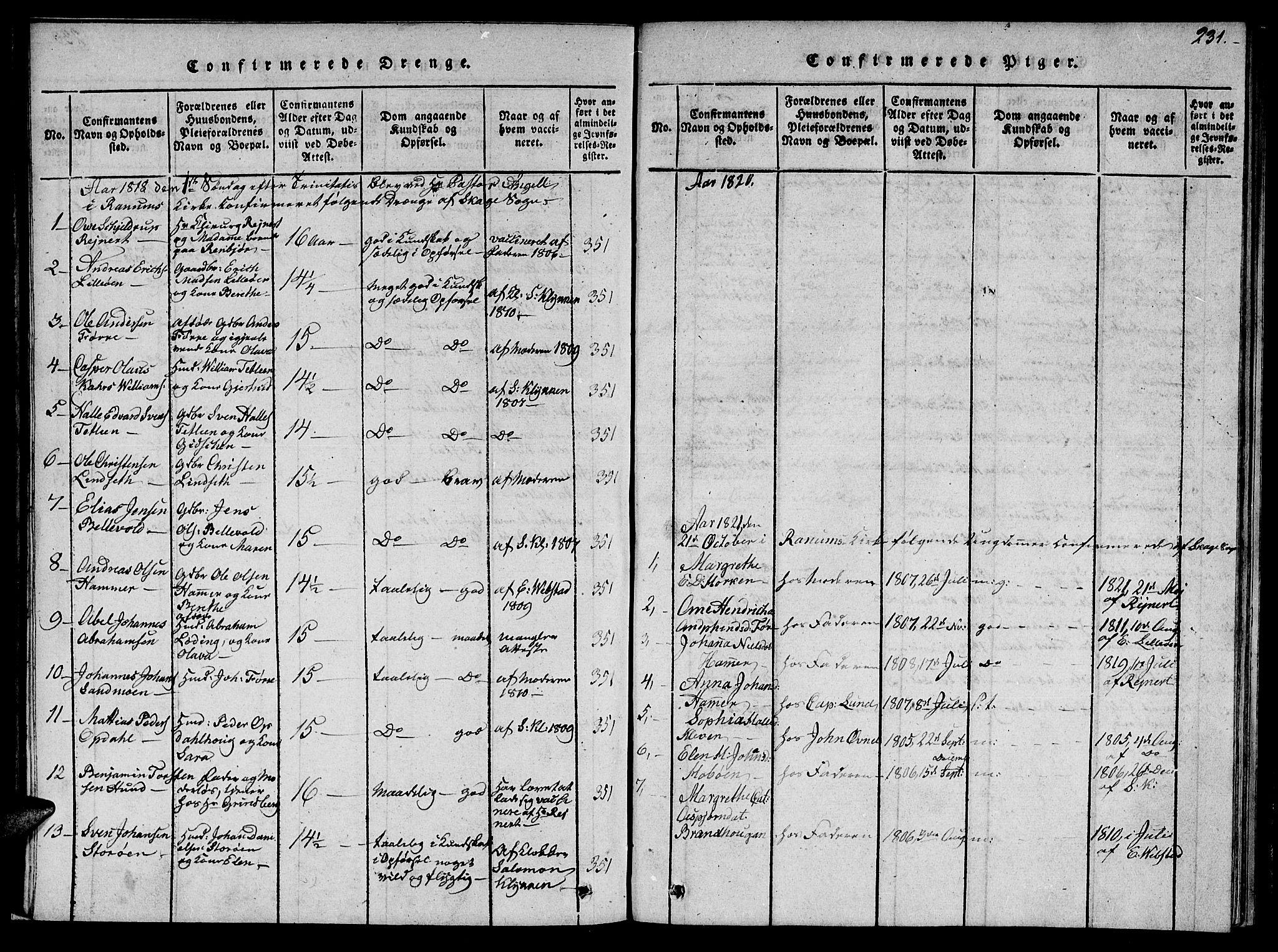 SAT, Ministerialprotokoller, klokkerbøker og fødselsregistre - Nord-Trøndelag, 766/L0565: Klokkerbok nr. 767C01, 1817-1823, s. 231