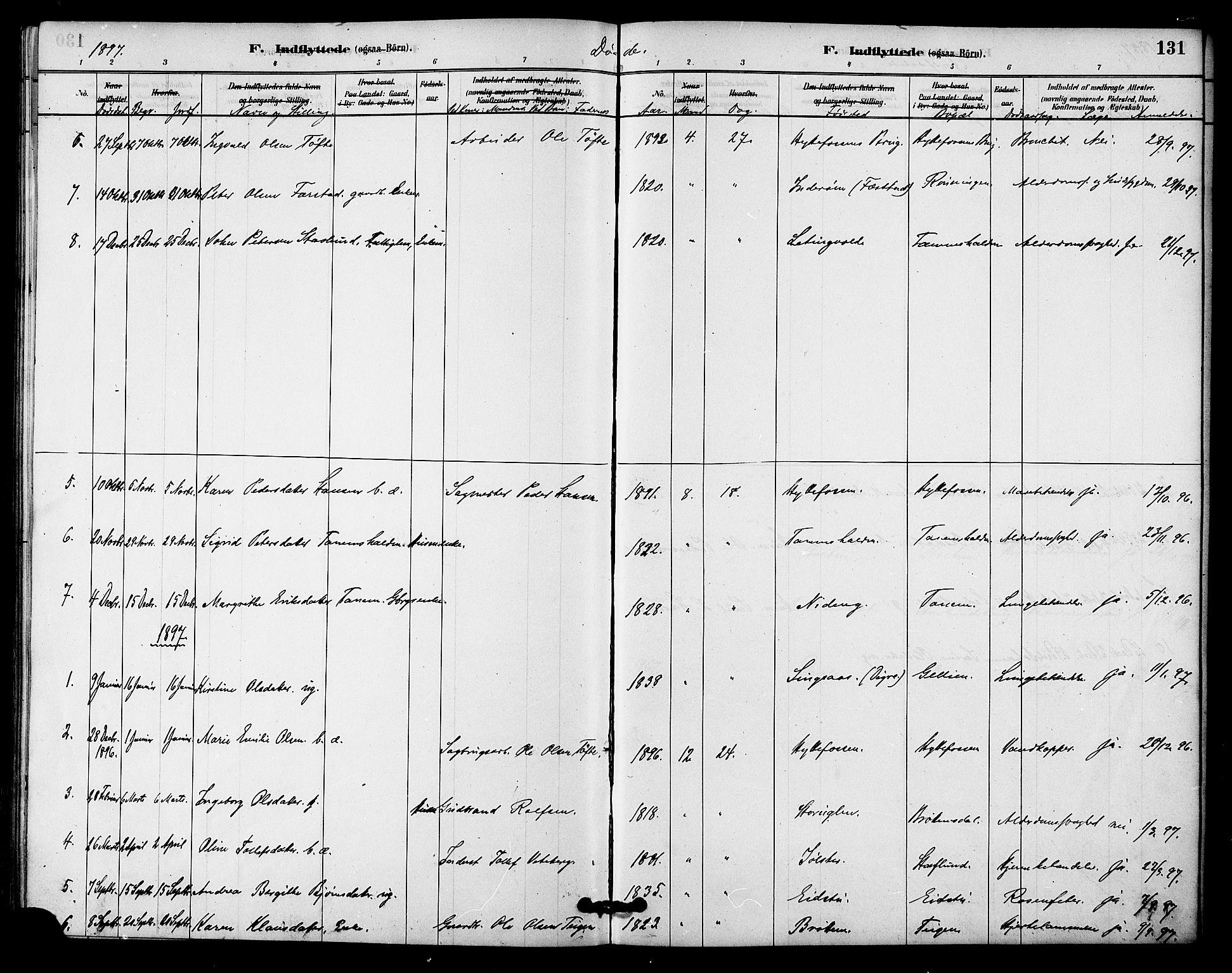 SAT, Ministerialprotokoller, klokkerbøker og fødselsregistre - Sør-Trøndelag, 618/L0444: Ministerialbok nr. 618A07, 1880-1898, s. 131