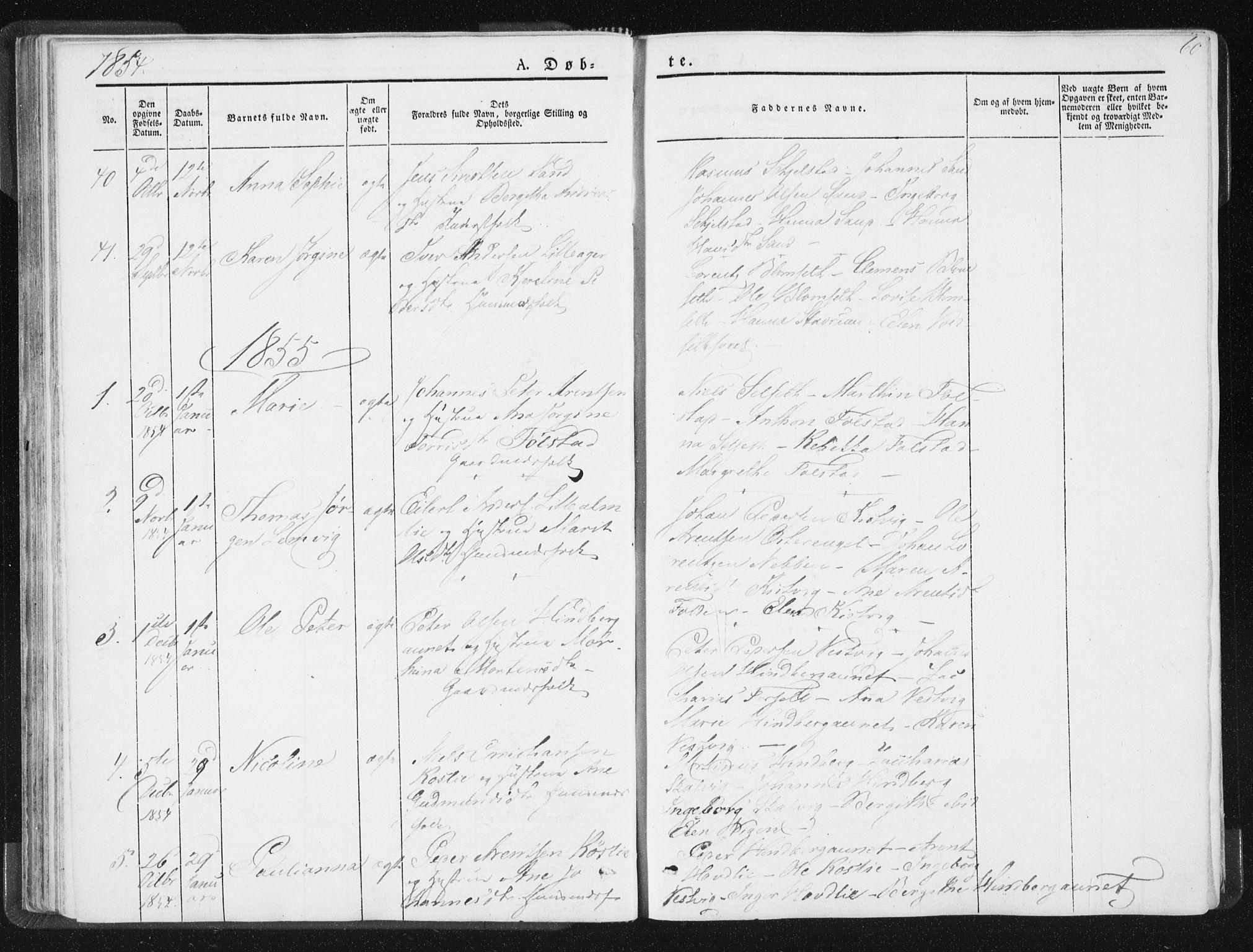 SAT, Ministerialprotokoller, klokkerbøker og fødselsregistre - Nord-Trøndelag, 744/L0418: Ministerialbok nr. 744A02, 1843-1866, s. 60