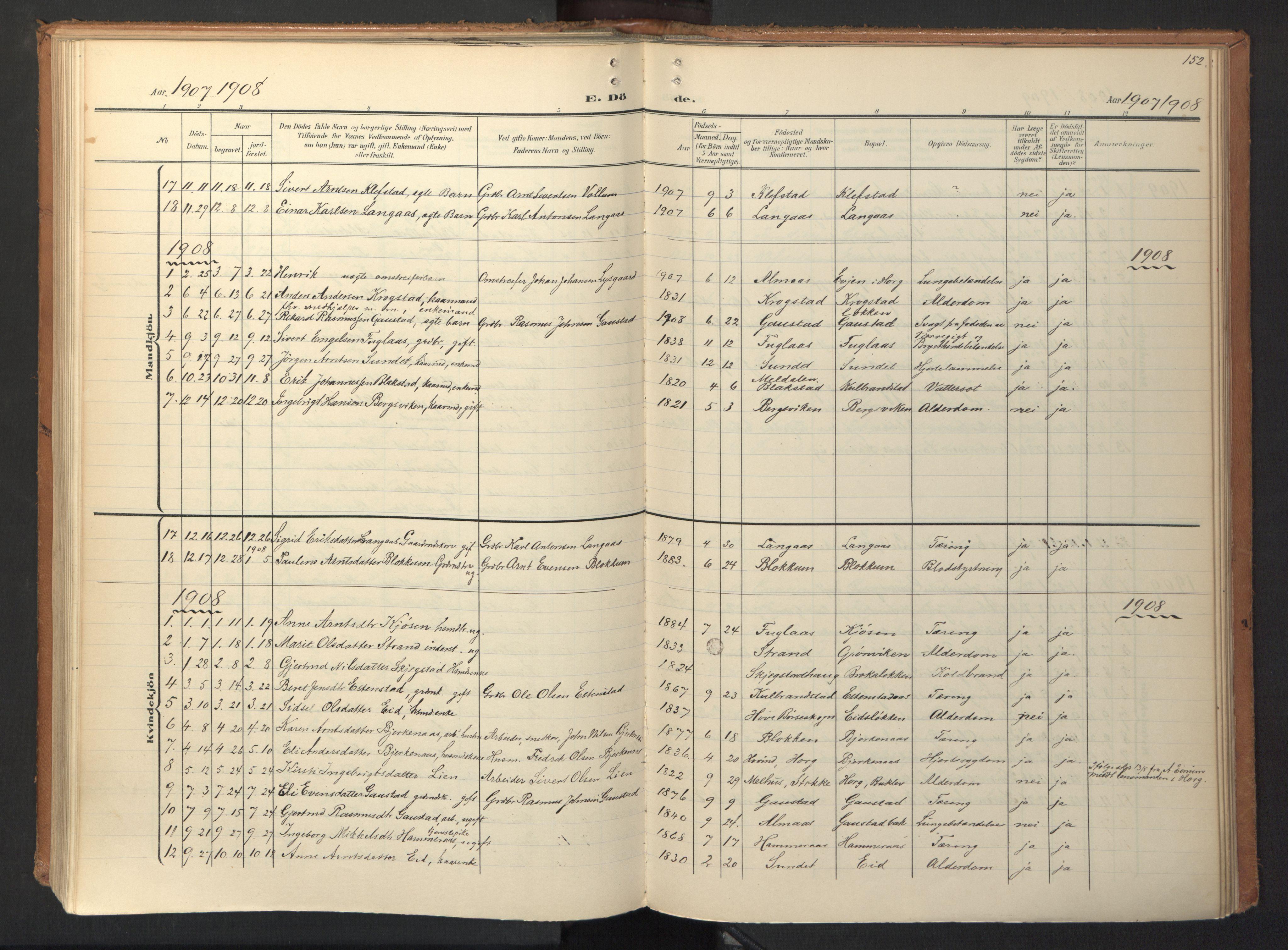 SAT, Ministerialprotokoller, klokkerbøker og fødselsregistre - Sør-Trøndelag, 694/L1128: Ministerialbok nr. 694A02, 1906-1931, s. 152