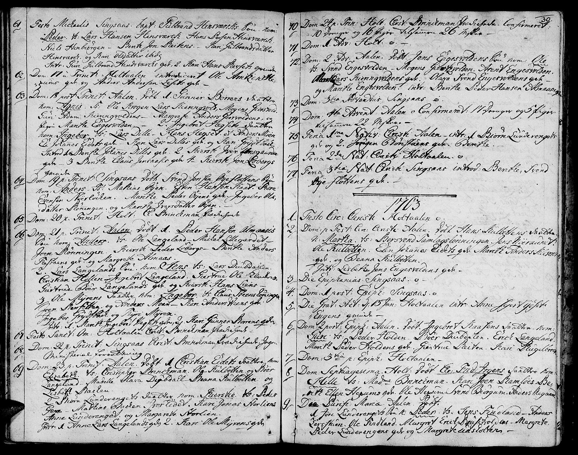 SAT, Ministerialprotokoller, klokkerbøker og fødselsregistre - Sør-Trøndelag, 685/L0952: Ministerialbok nr. 685A01, 1745-1804, s. 39