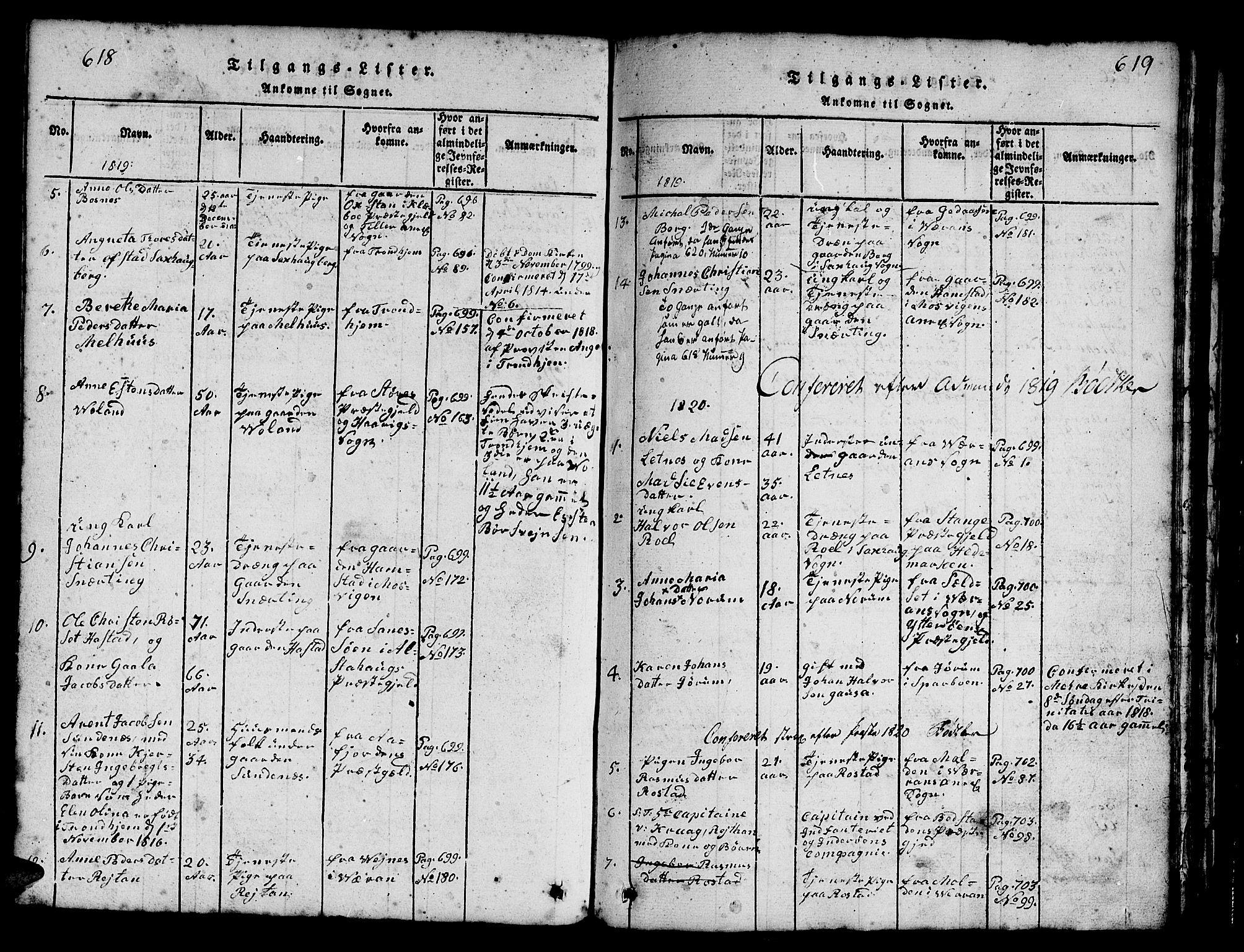 SAT, Ministerialprotokoller, klokkerbøker og fødselsregistre - Nord-Trøndelag, 730/L0298: Klokkerbok nr. 730C01, 1816-1849, s. 618-619