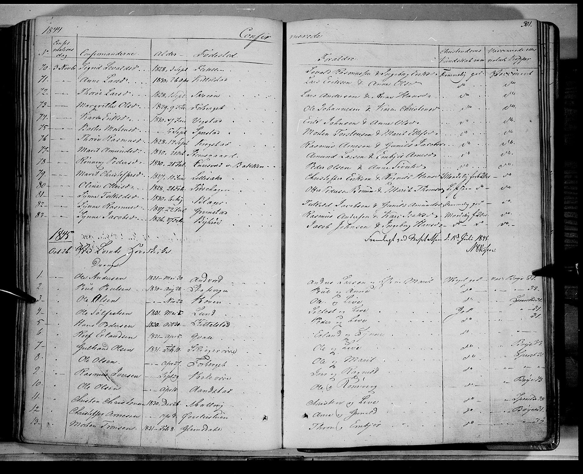 SAH, Lom prestekontor, K/L0006: Ministerialbok nr. 6A, 1837-1863, s. 301