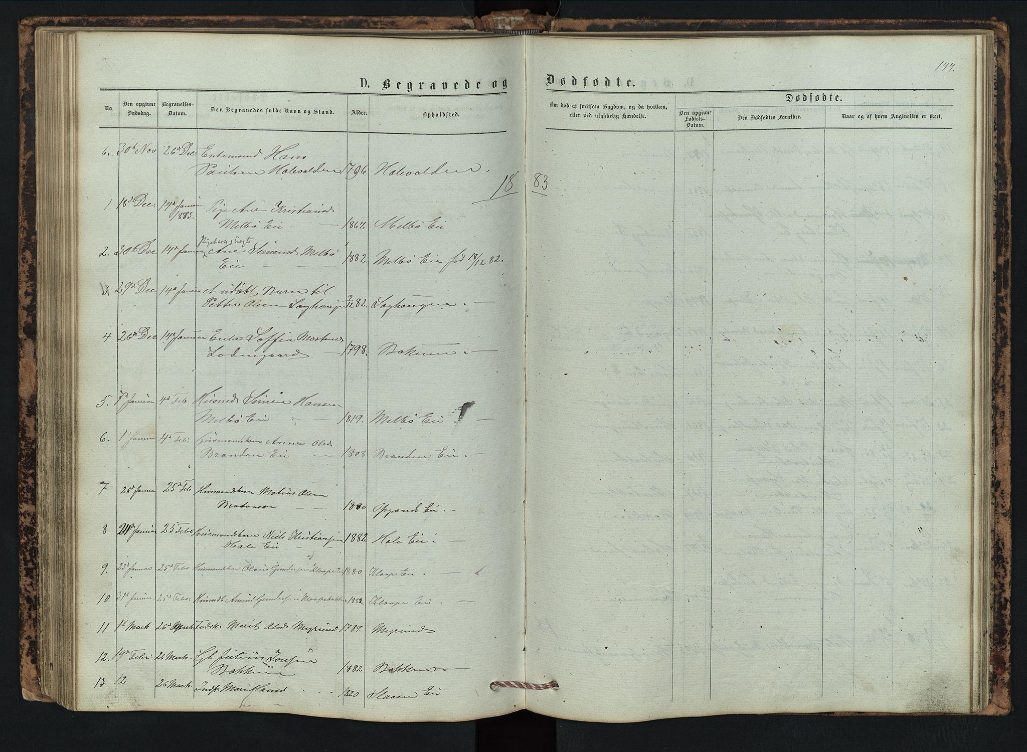 SAH, Vestre Gausdal prestekontor, Klokkerbok nr. 2, 1874-1897, s. 144