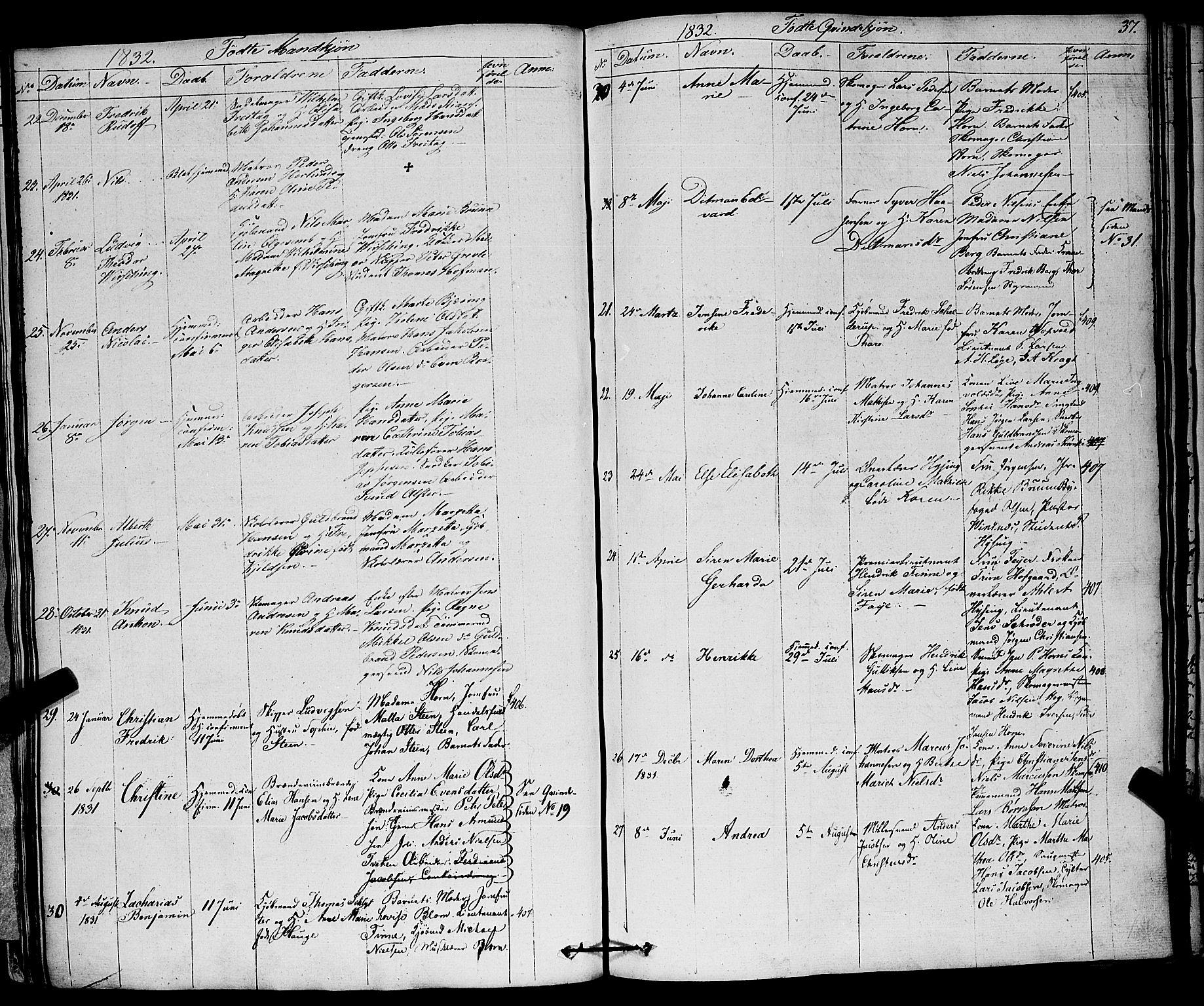 SAKO, Larvik kirkebøker, F/Fa/L0002: Ministerialbok nr. I 2, 1825-1847, s. 37