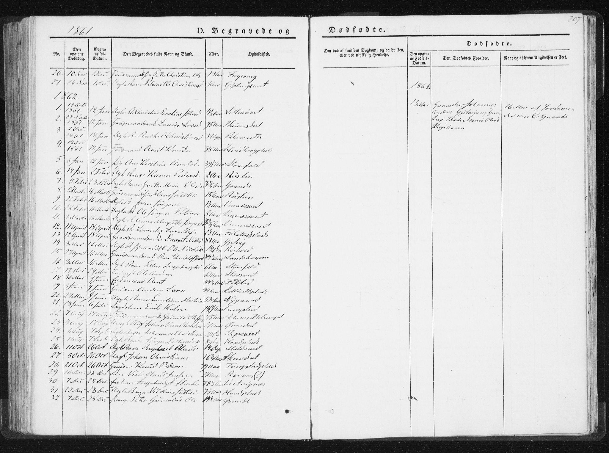 SAT, Ministerialprotokoller, klokkerbøker og fødselsregistre - Nord-Trøndelag, 744/L0418: Ministerialbok nr. 744A02, 1843-1866, s. 207