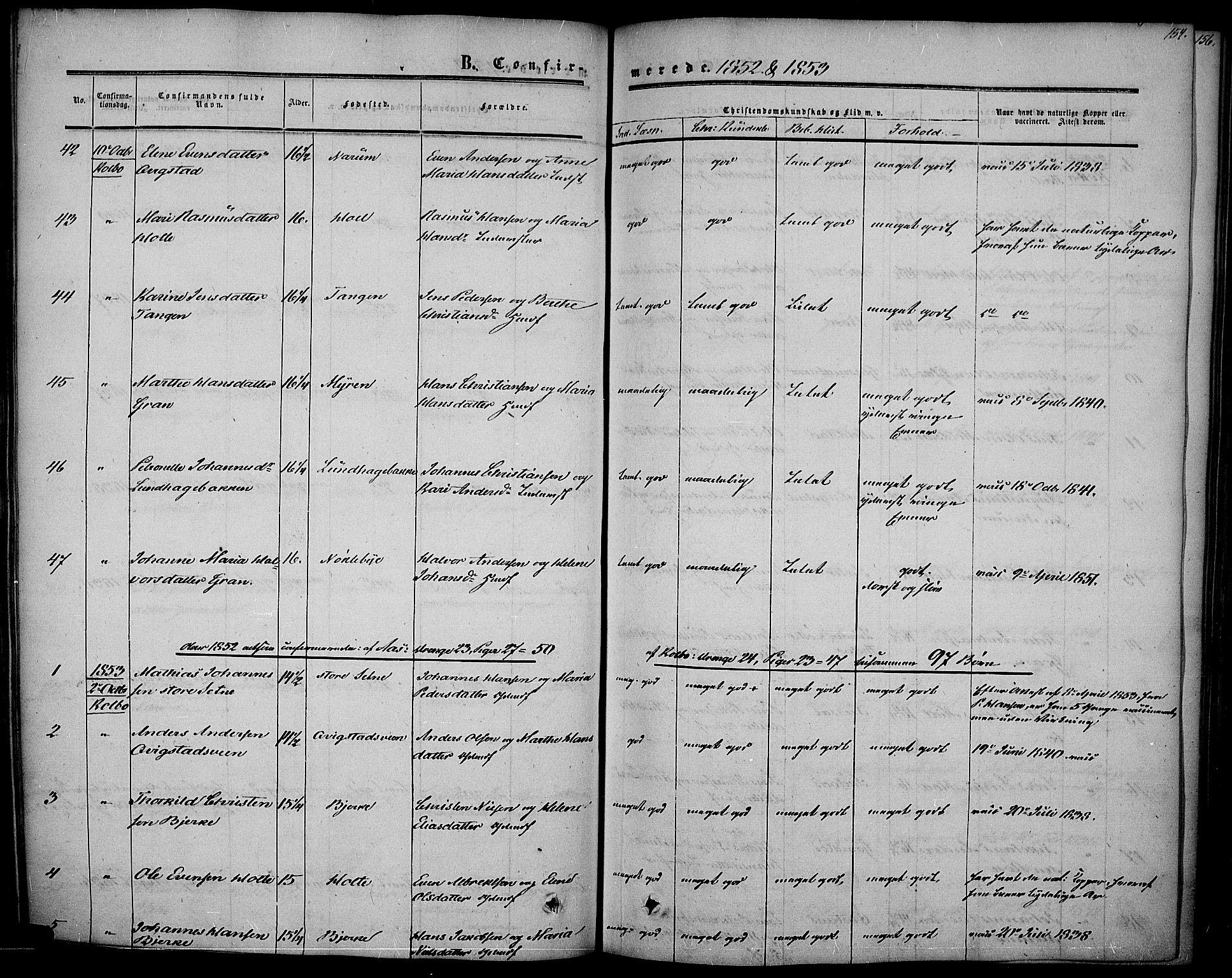 SAH, Vestre Toten prestekontor, H/Ha/Haa/L0005: Ministerialbok nr. 5, 1850-1855, s. 154