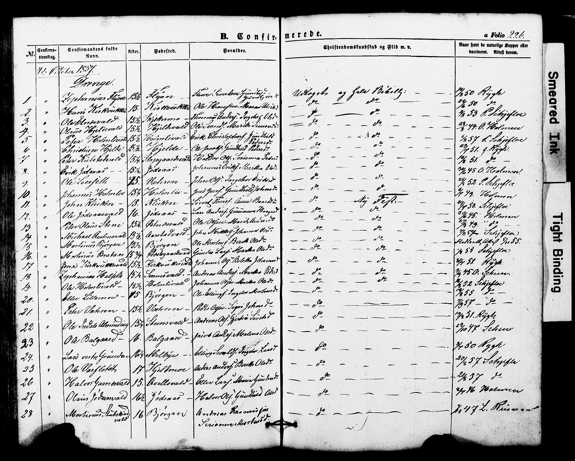 SAT, Ministerialprotokoller, klokkerbøker og fødselsregistre - Nord-Trøndelag, 724/L0268: Klokkerbok nr. 724C04, 1846-1878, s. 226