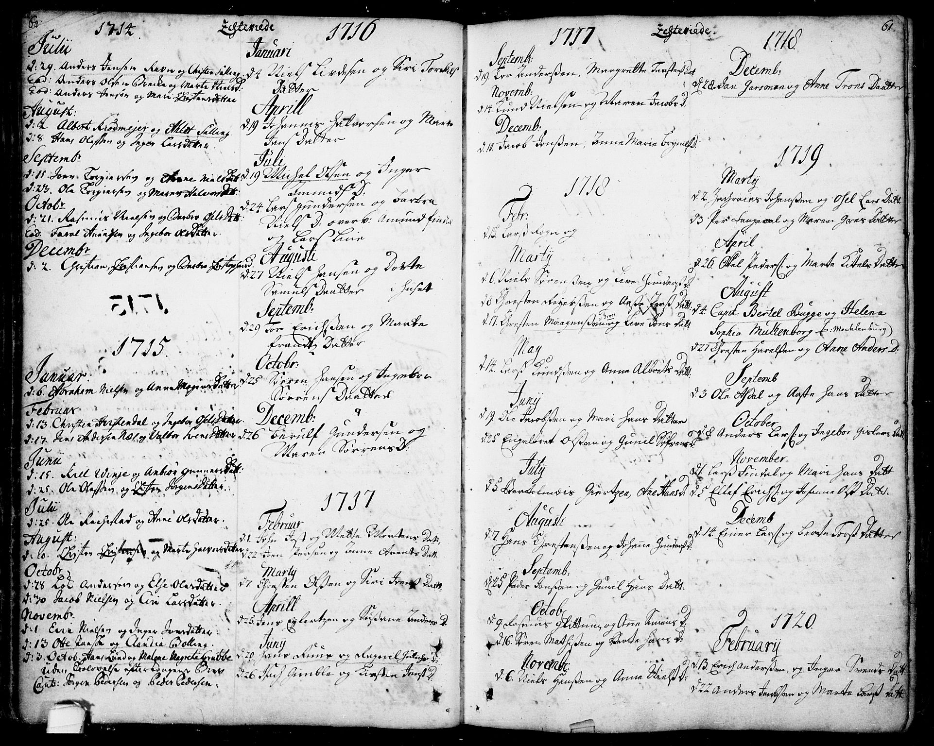 SAKO, Bamble kirkebøker, F/Fa/L0001: Ministerialbok nr. I 1, 1702-1774, s. 60-61