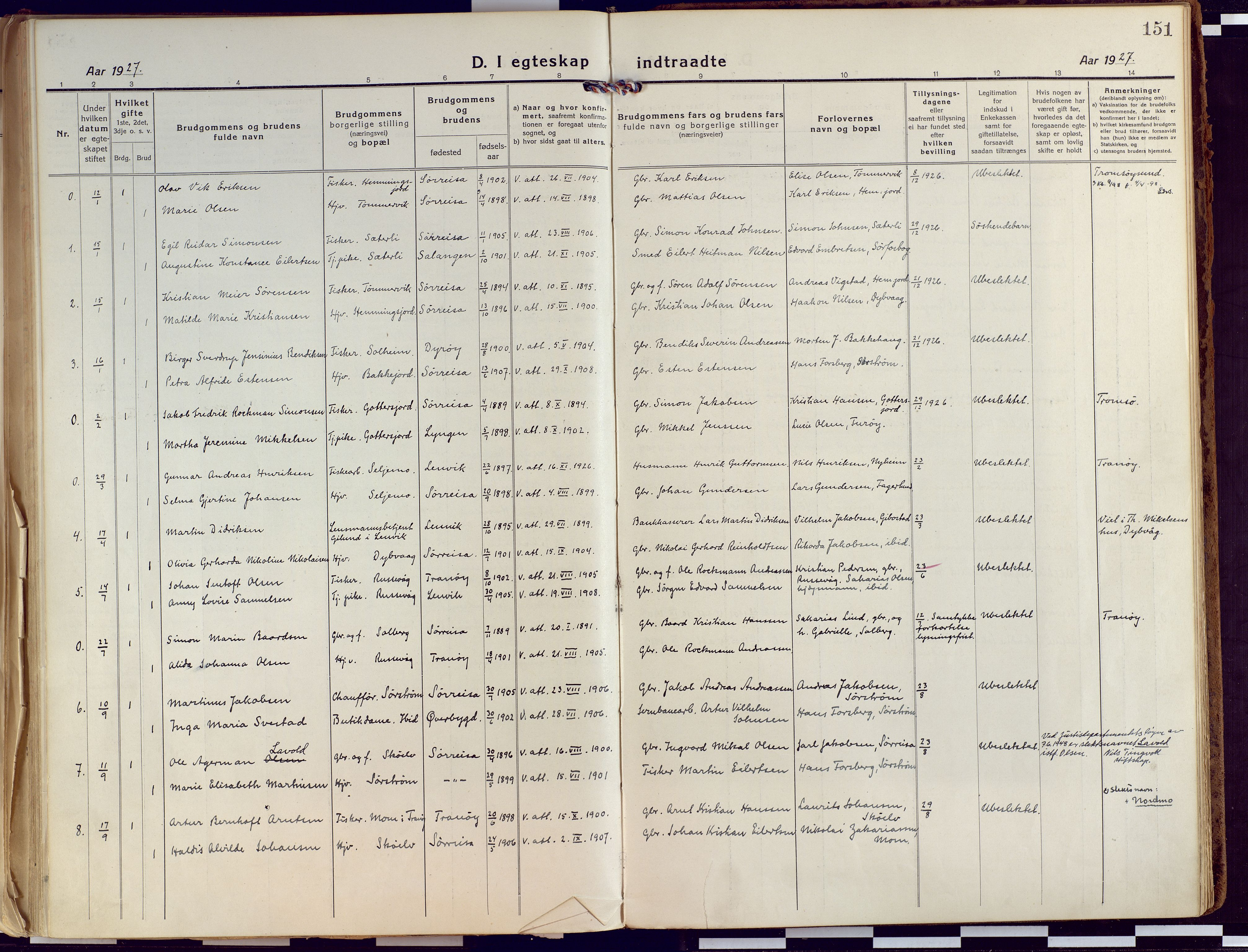 SATØ, Tranøy sokneprestkontor, I/Ia/Iaa/L0015kirke: Ministerialbok nr. 15, 1919-1928, s. 151