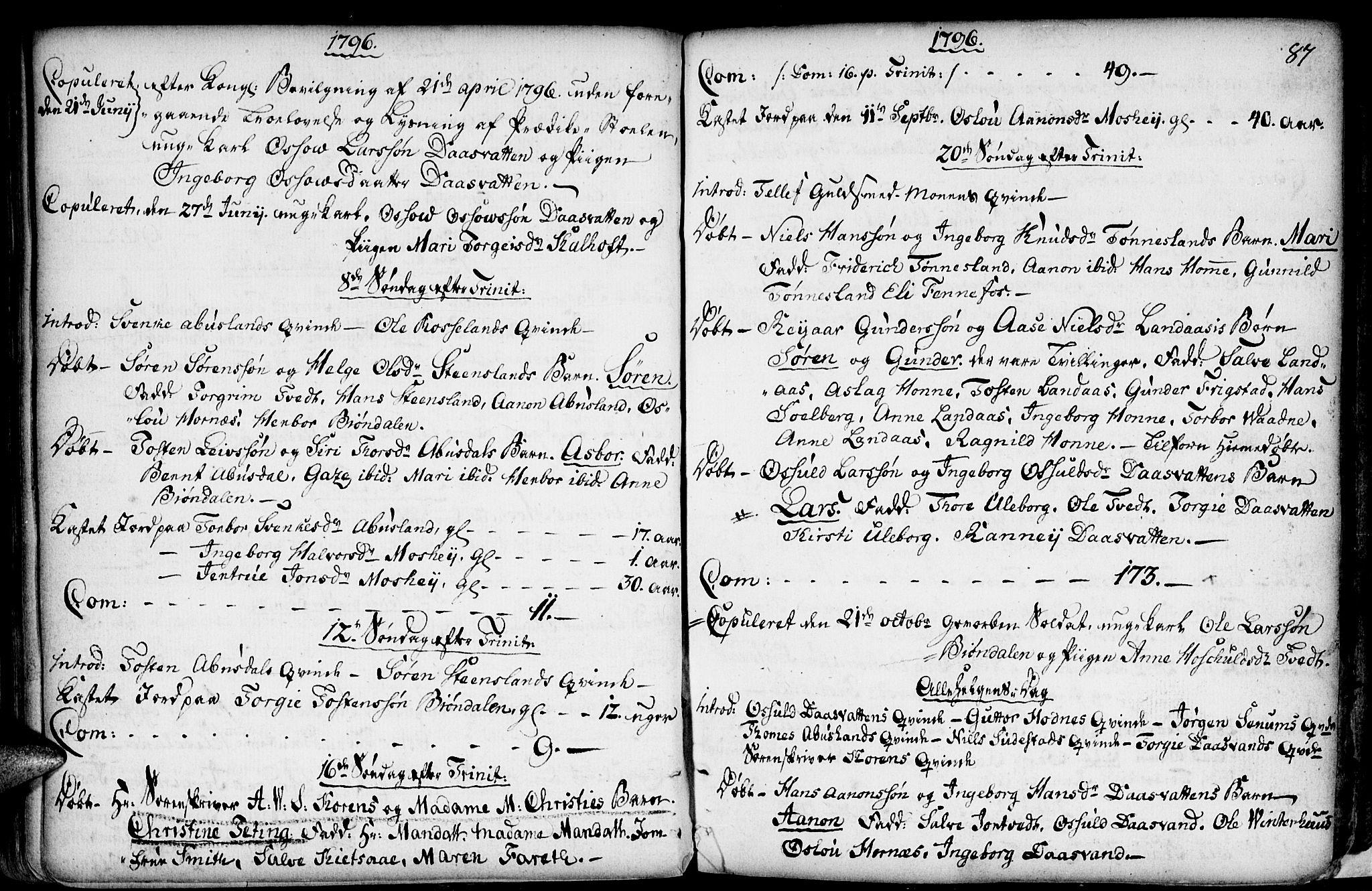 SAK, Evje sokneprestkontor, F/Fa/Fab/L0002: Ministerialbok nr. A 2, 1765-1816, s. 87