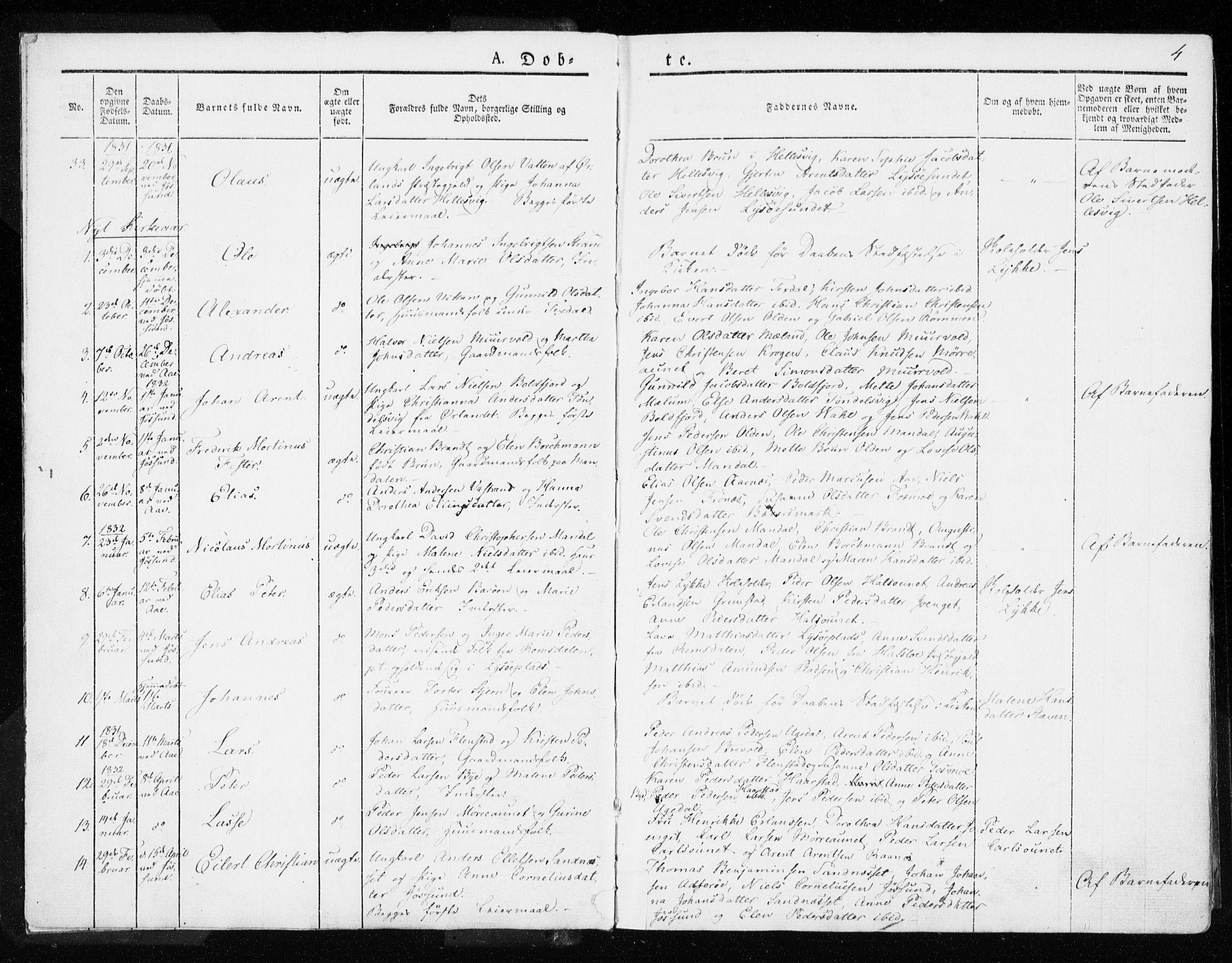 SAT, Ministerialprotokoller, klokkerbøker og fødselsregistre - Sør-Trøndelag, 655/L0676: Ministerialbok nr. 655A05, 1830-1847, s. 4