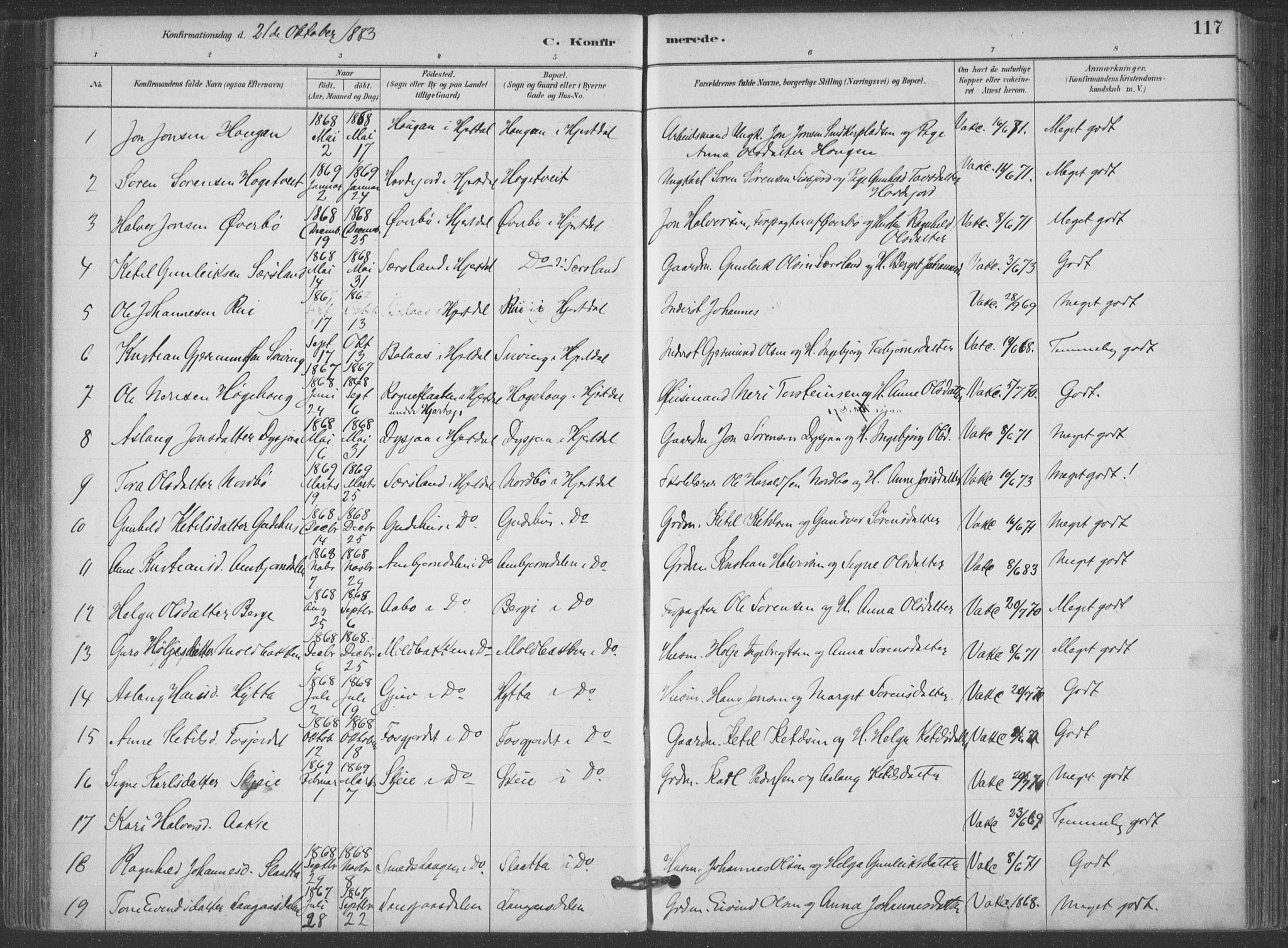 SAKO, Hjartdal kirkebøker, F/Fa/L0010: Ministerialbok nr. I 10, 1880-1929, s. 117