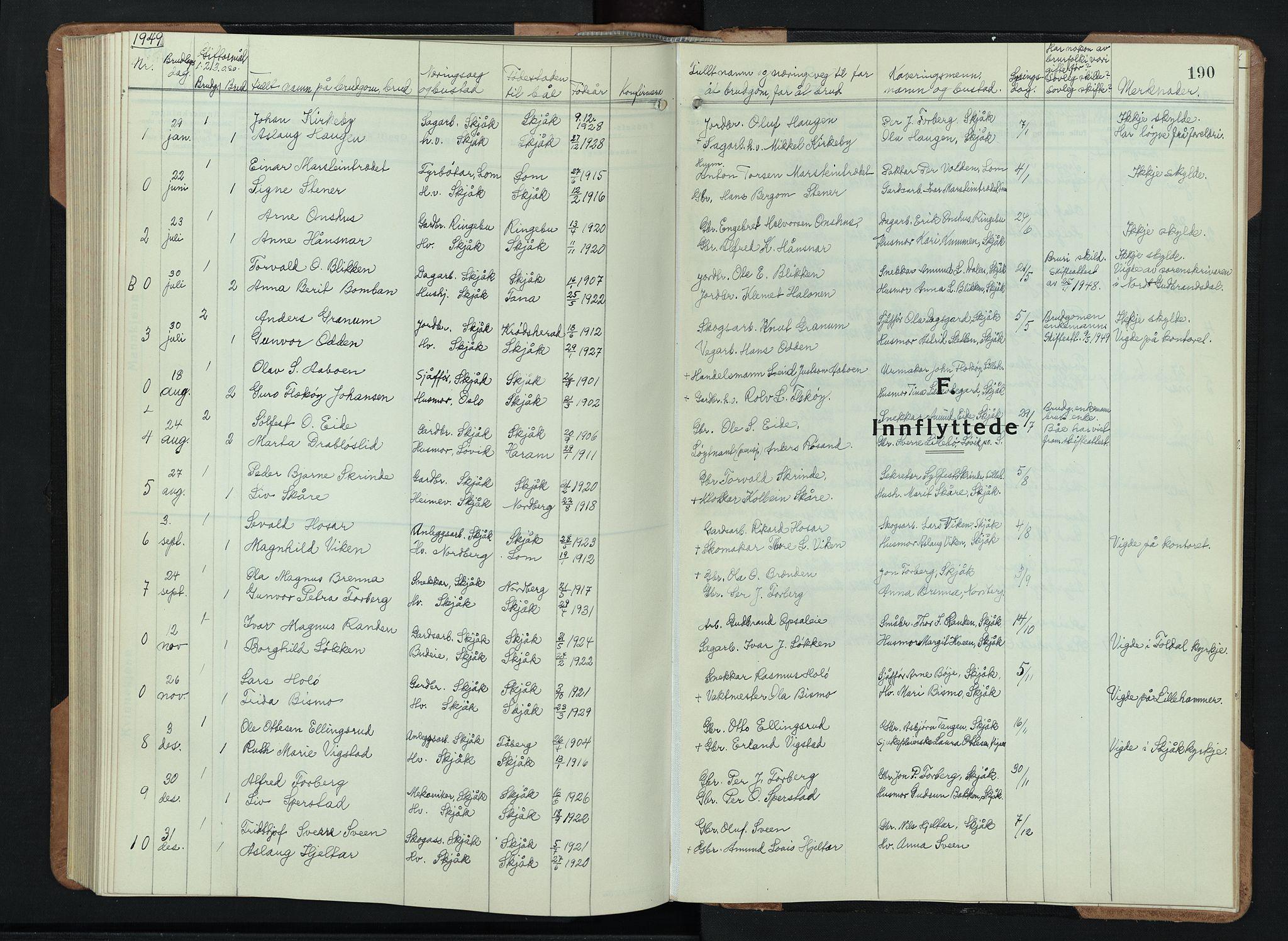 SAH, Skjåk prestekontor, Klokkerbok nr. 6, 1933-1954, s. 190