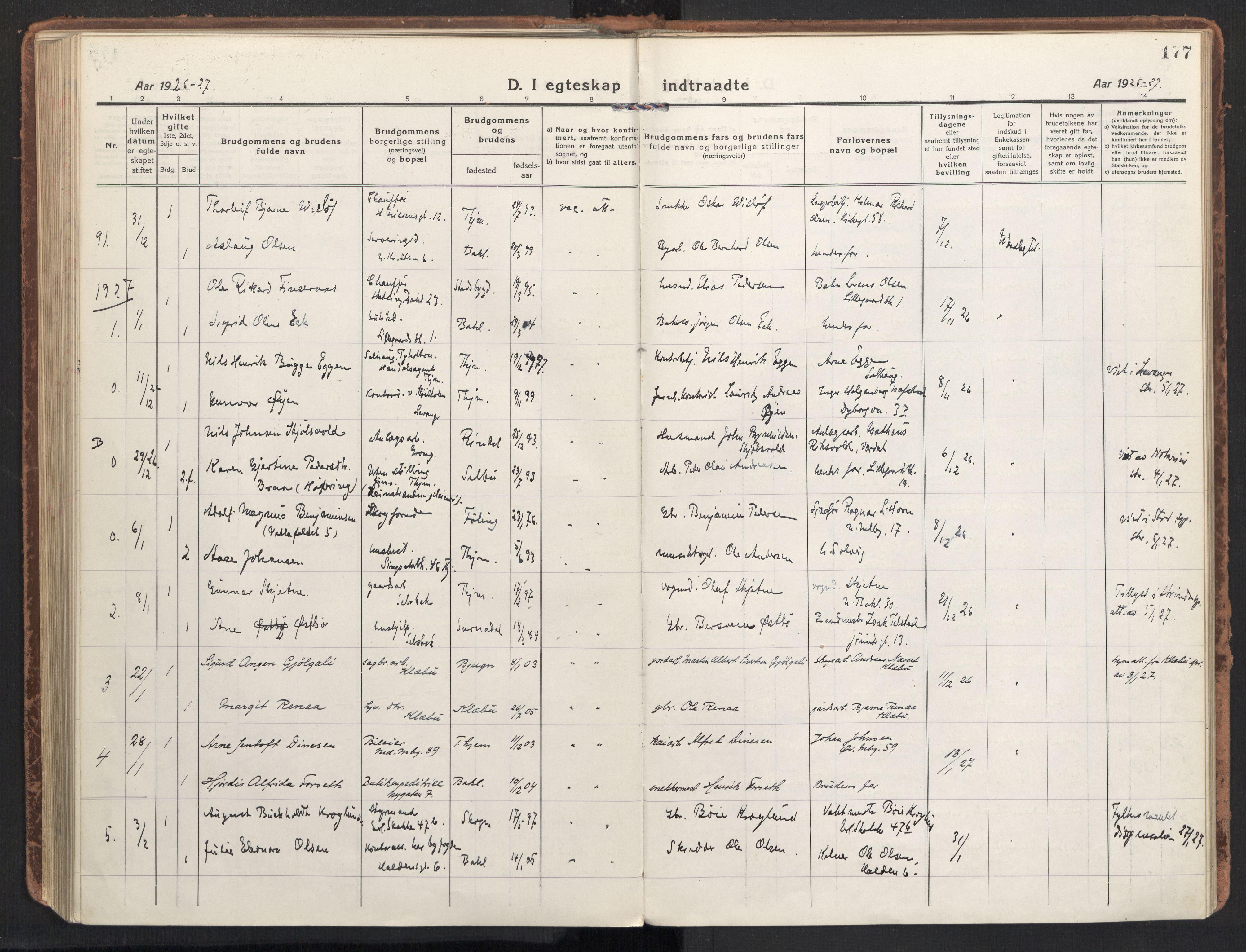 SAT, Ministerialprotokoller, klokkerbøker og fødselsregistre - Sør-Trøndelag, 604/L0206: Ministerialbok nr. 604A26, 1917-1931, s. 177