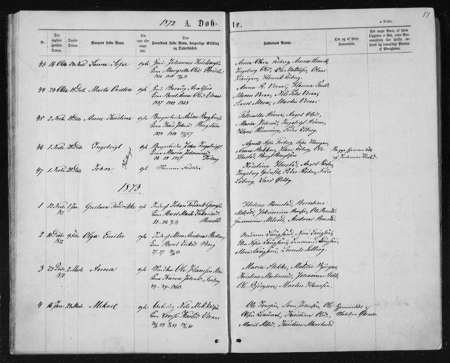 SAT, Ministerialprotokoller, klokkerbøker og fødselsregistre - Nord-Trøndelag, 722/L0219: Ministerialbok nr. 722A06, 1868-1880, s. 17
