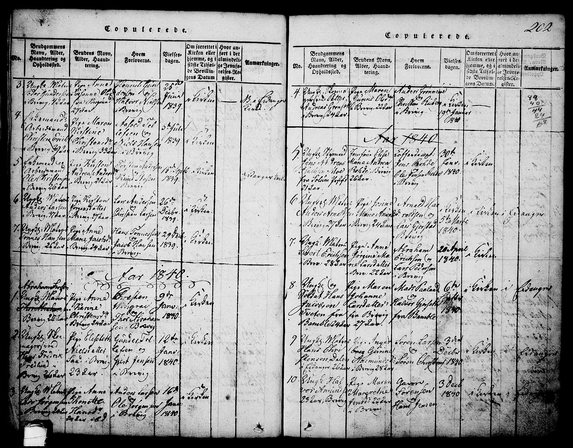 SAKO, Brevik kirkebøker, G/Ga/L0001: Klokkerbok nr. 1, 1814-1845, s. 202