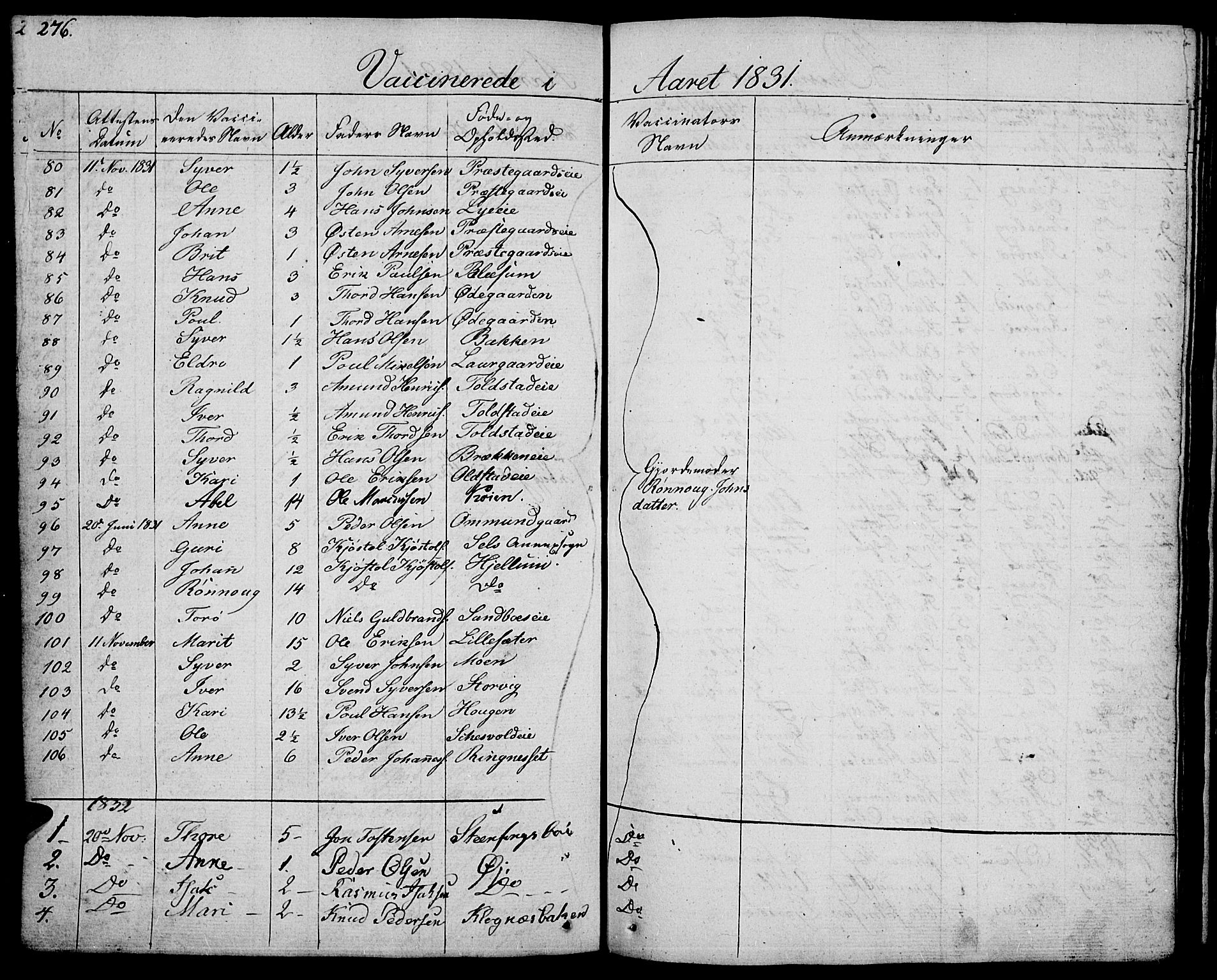 SAH, Vågå prestekontor, Ministerialbok nr. 4 /1, 1827-1842, s. 276