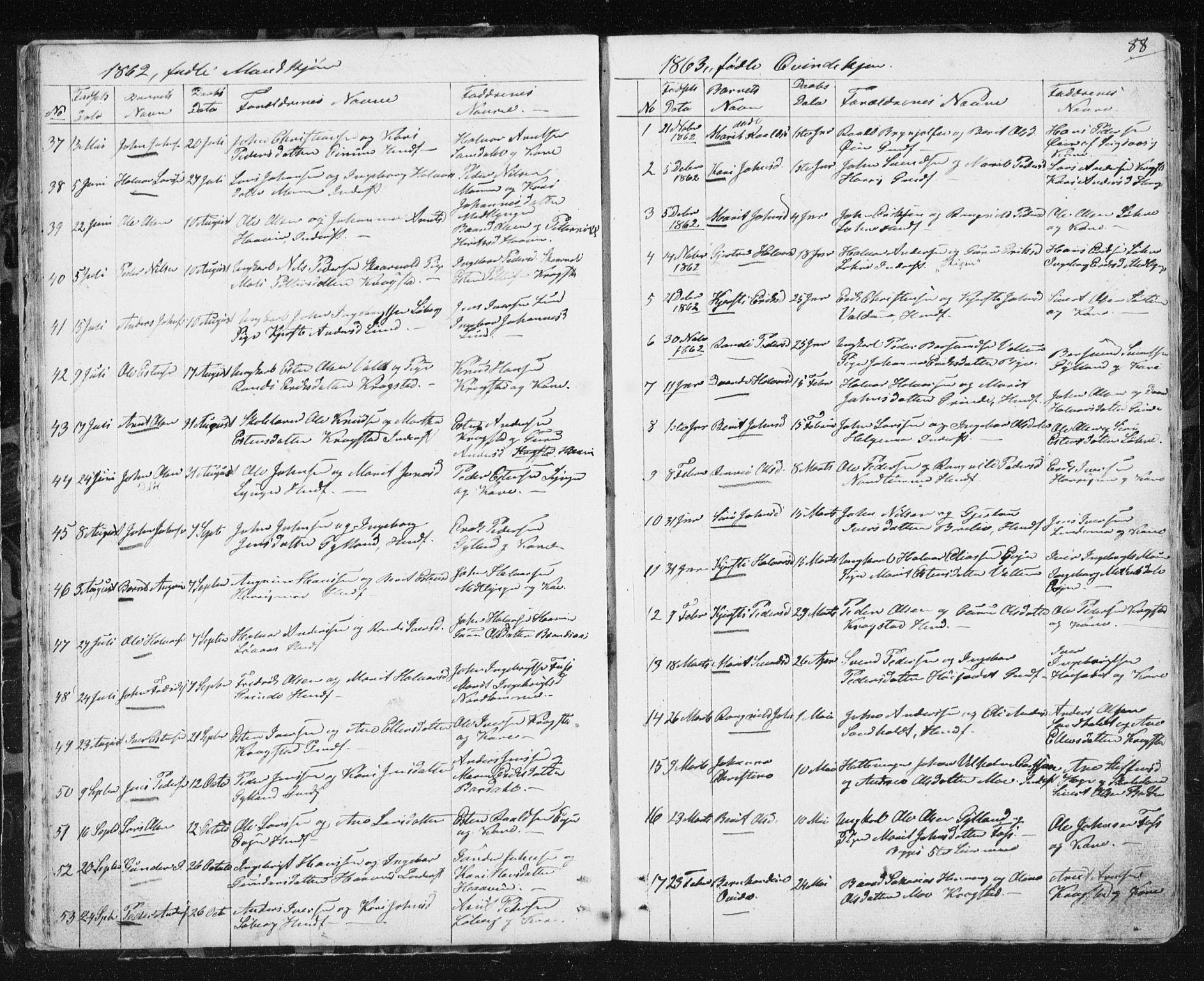 SAT, Ministerialprotokoller, klokkerbøker og fødselsregistre - Sør-Trøndelag, 692/L1110: Klokkerbok nr. 692C05, 1849-1889, s. 88