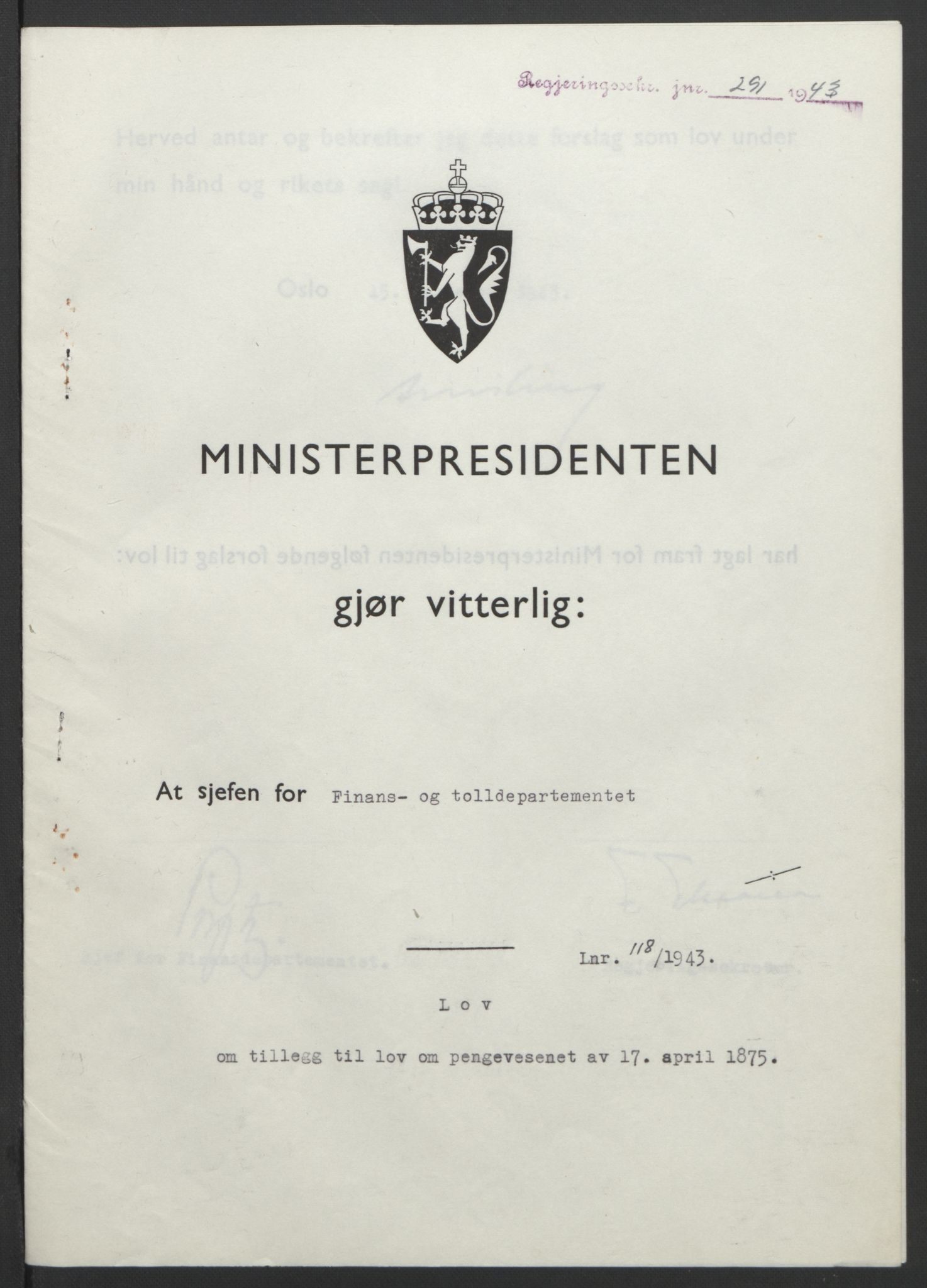 RA, NS-administrasjonen 1940-1945 (Statsrådsekretariatet, de kommisariske statsråder mm), D/Db/L0099: Lover, 1943, s. 548
