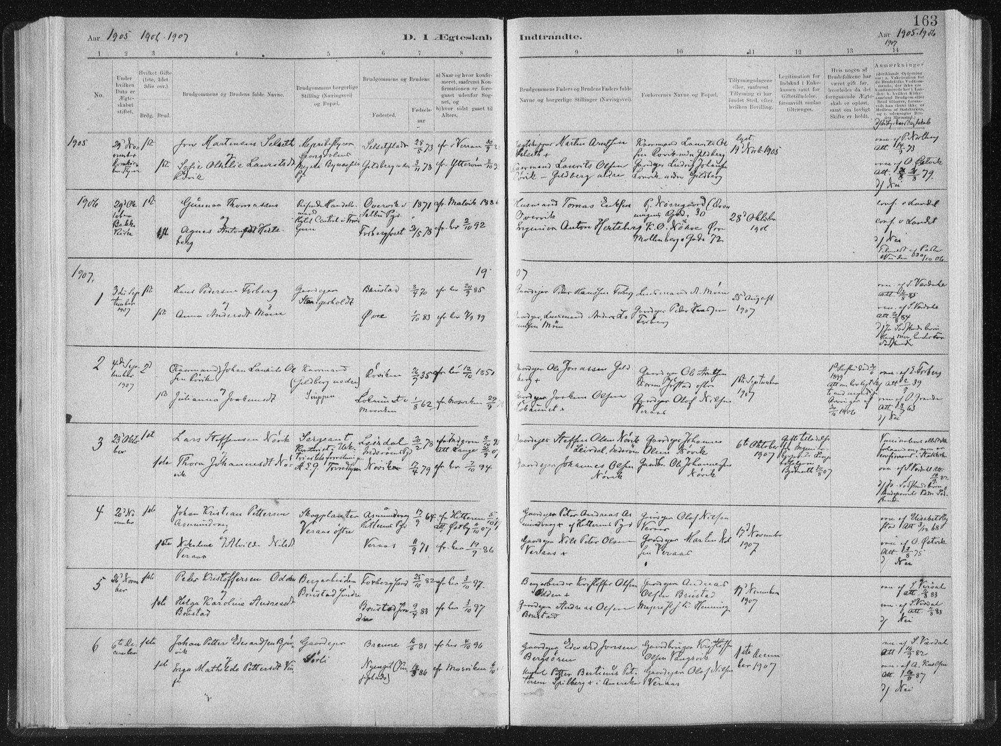 SAT, Ministerialprotokoller, klokkerbøker og fødselsregistre - Nord-Trøndelag, 722/L0220: Ministerialbok nr. 722A07, 1881-1908, s. 163