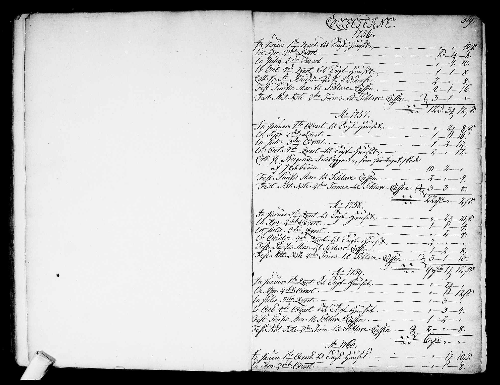 SAKO, Kongsberg kirkebøker, F/Fa/L0004: Ministerialbok nr. I 4, 1756-1768, s. 319