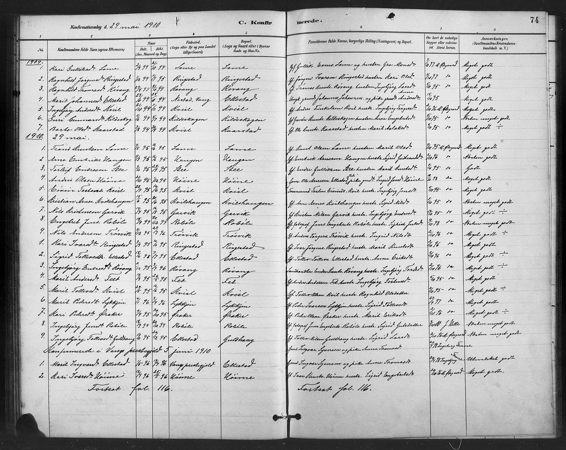 SAH, Vestre Slidre prestekontor, Klokkerbok nr. 6, 1881-1915, s. 74