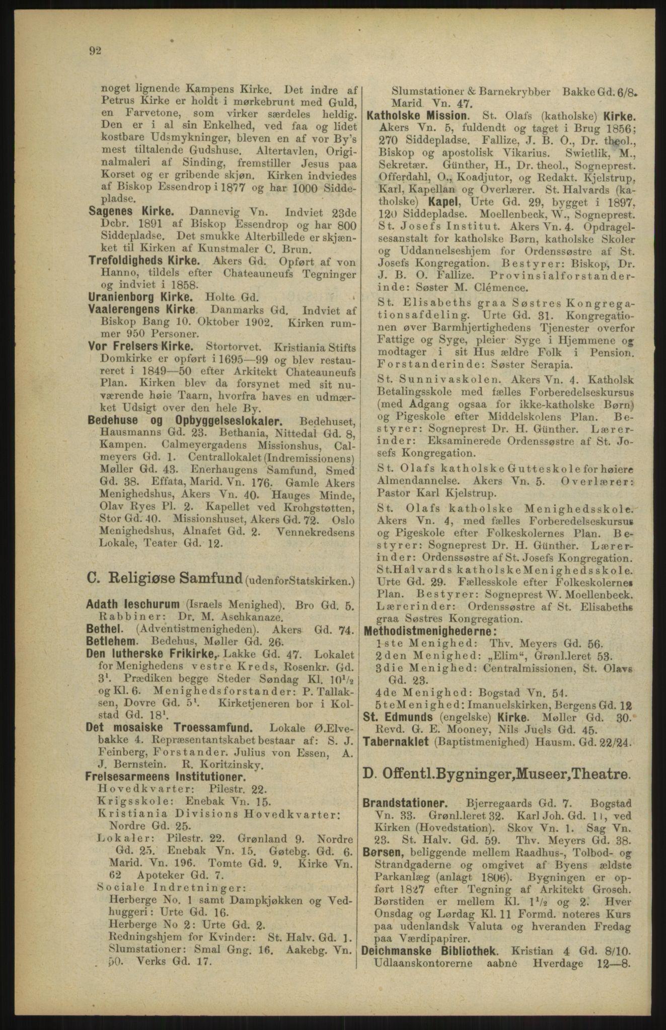 RA, Kristiania adressebok (publikasjon)*, 1904, s. 92