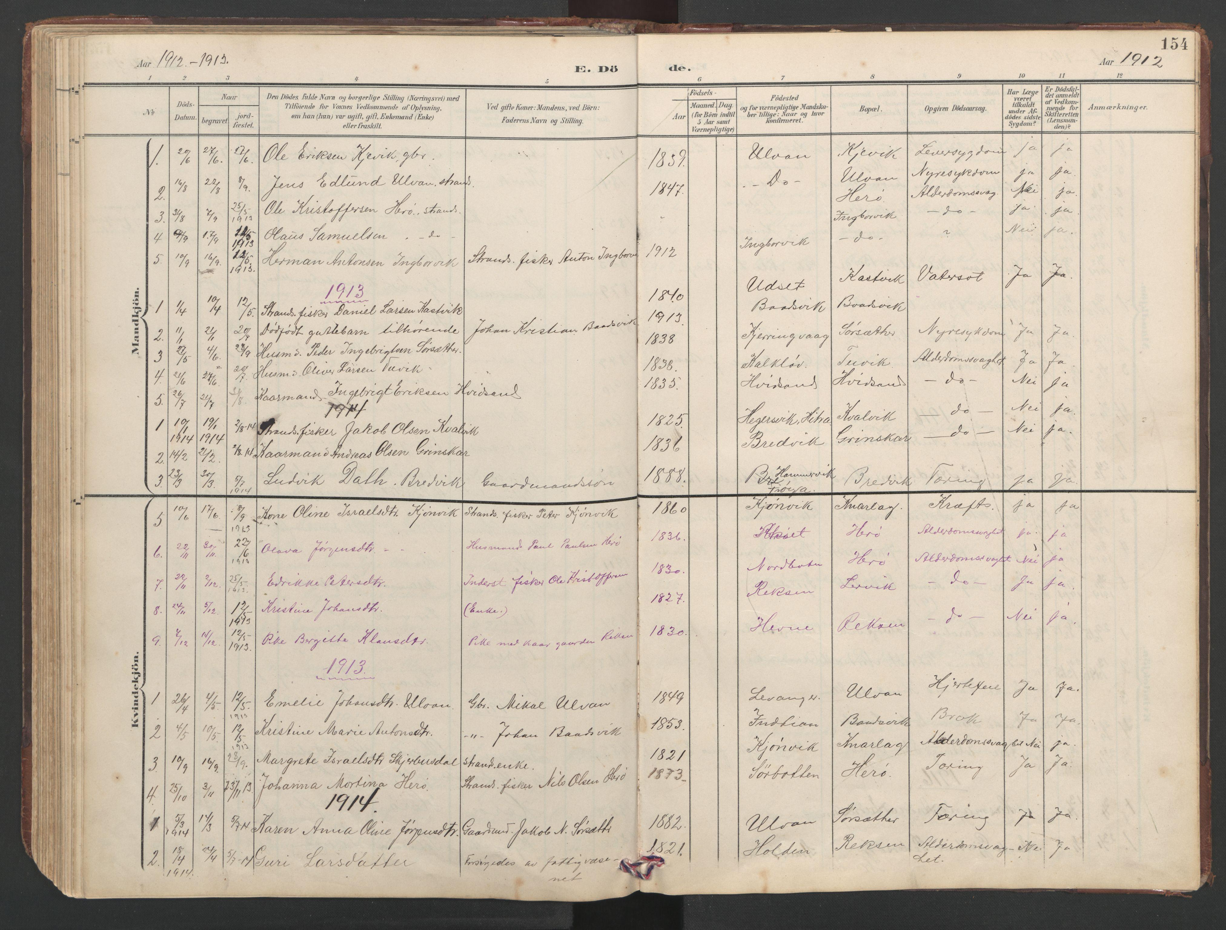 SAT, Ministerialprotokoller, klokkerbøker og fødselsregistre - Sør-Trøndelag, 638/L0571: Klokkerbok nr. 638C03, 1901-1930, s. 154