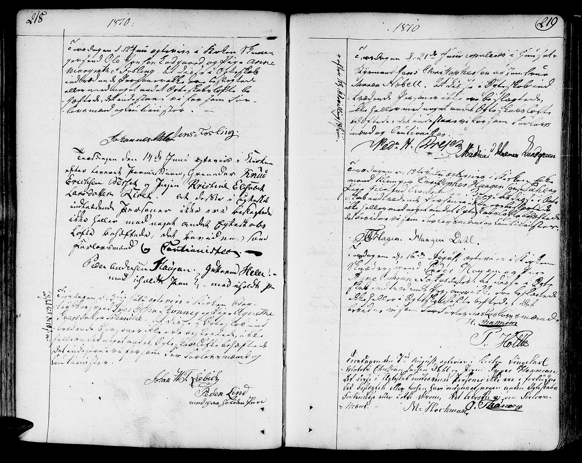 SAT, Ministerialprotokoller, klokkerbøker og fødselsregistre - Sør-Trøndelag, 602/L0105: Ministerialbok nr. 602A03, 1774-1814, s. 218-219