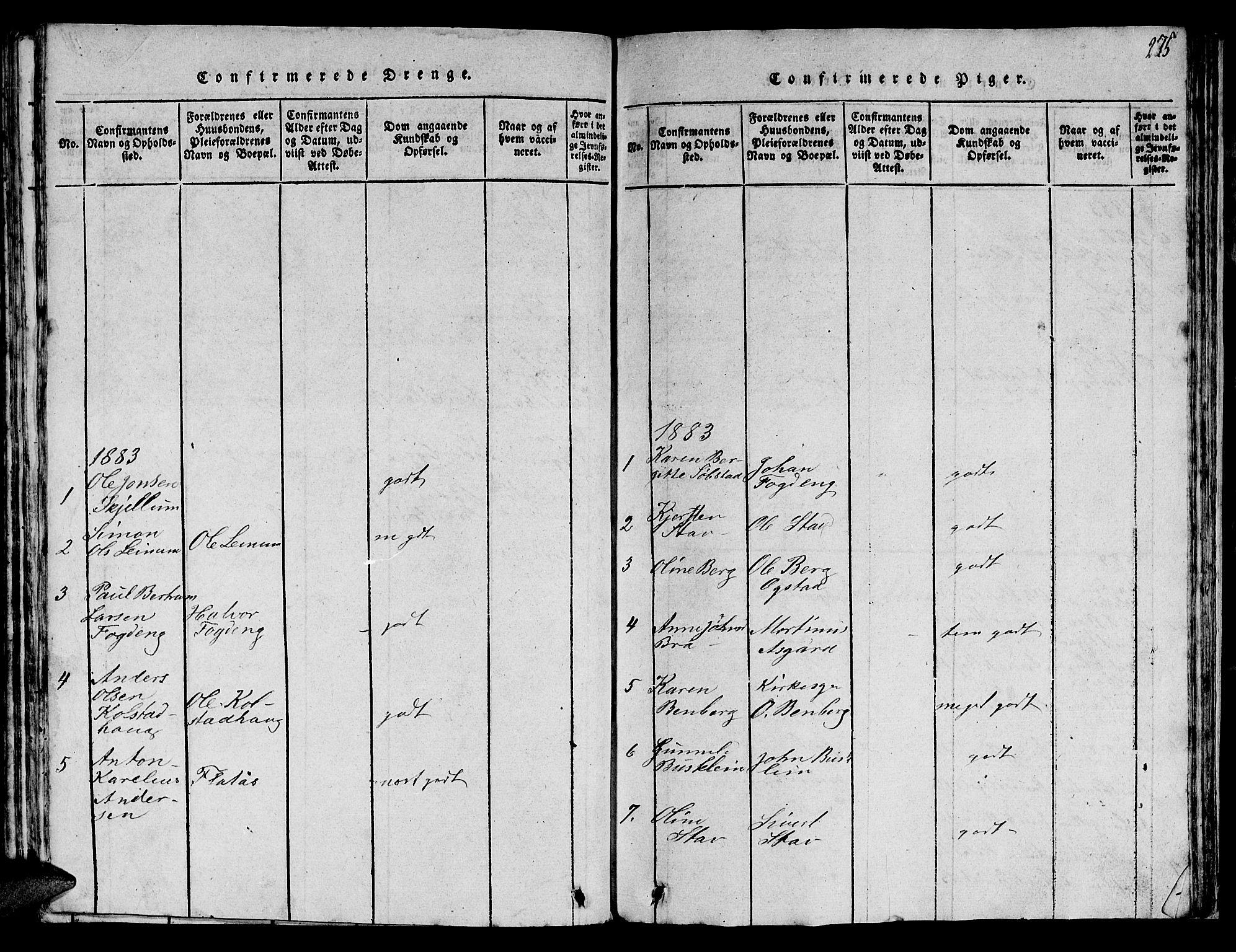 SAT, Ministerialprotokoller, klokkerbøker og fødselsregistre - Sør-Trøndelag, 613/L0393: Klokkerbok nr. 613C01, 1816-1886, s. 275