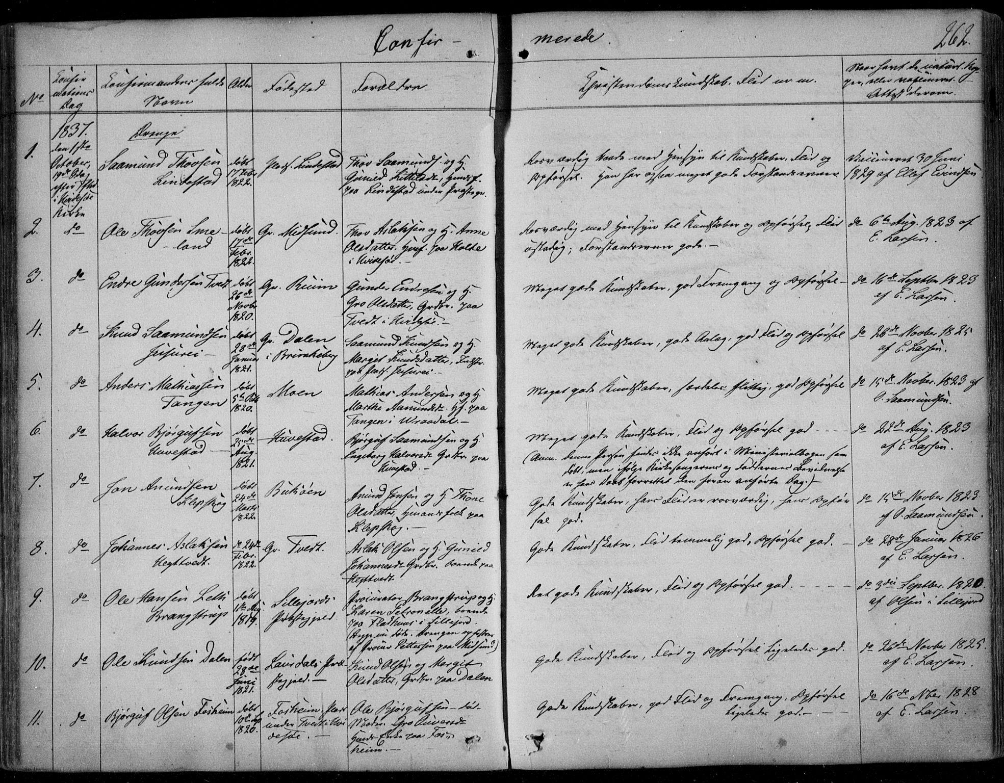 SAKO, Kviteseid kirkebøker, F/Fa/L0006: Ministerialbok nr. I 6, 1836-1858, s. 262