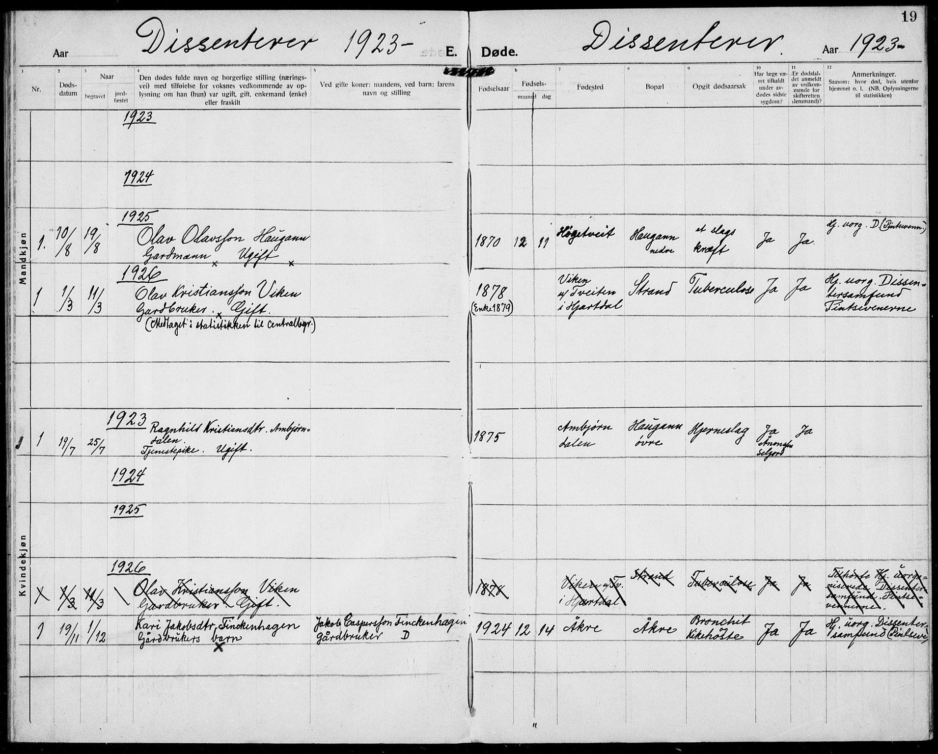 SAKO, Hjartdal kirkebøker, F/Fa/L0012: Ministerialbok nr. I 12, 1923-1930, s. 19
