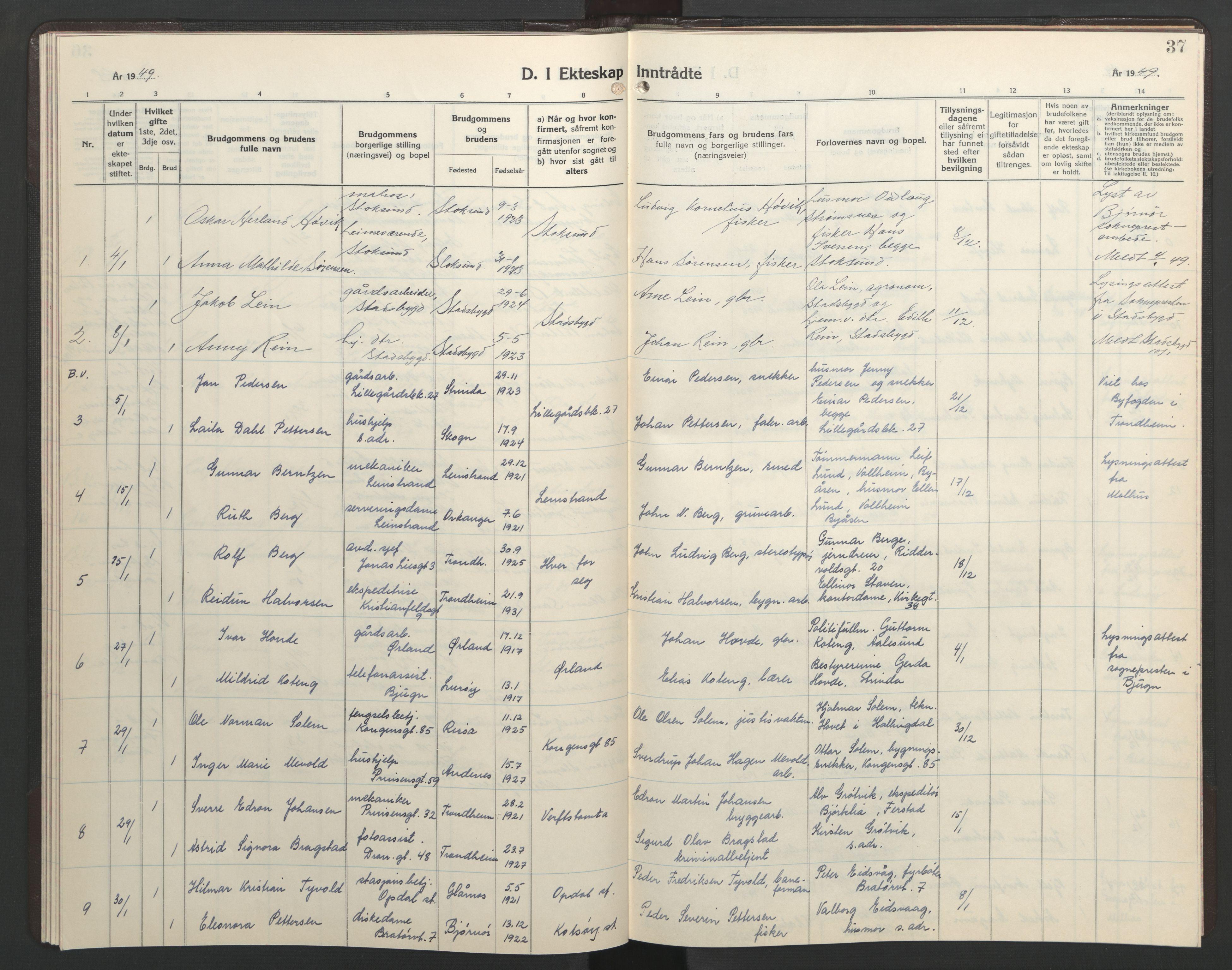 SAT, Ministerialprotokoller, klokkerbøker og fødselsregistre - Sør-Trøndelag, 602/L0155: Klokkerbok nr. 602C23, 1947-1950, s. 37
