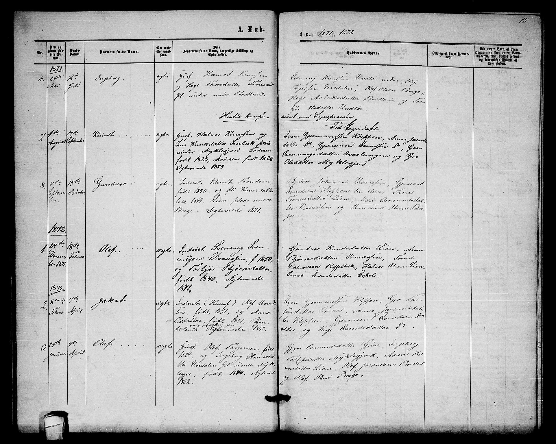 SAKO, Lårdal kirkebøker, G/Gb/L0002: Klokkerbok nr. II 2, 1865-1888, s. 15