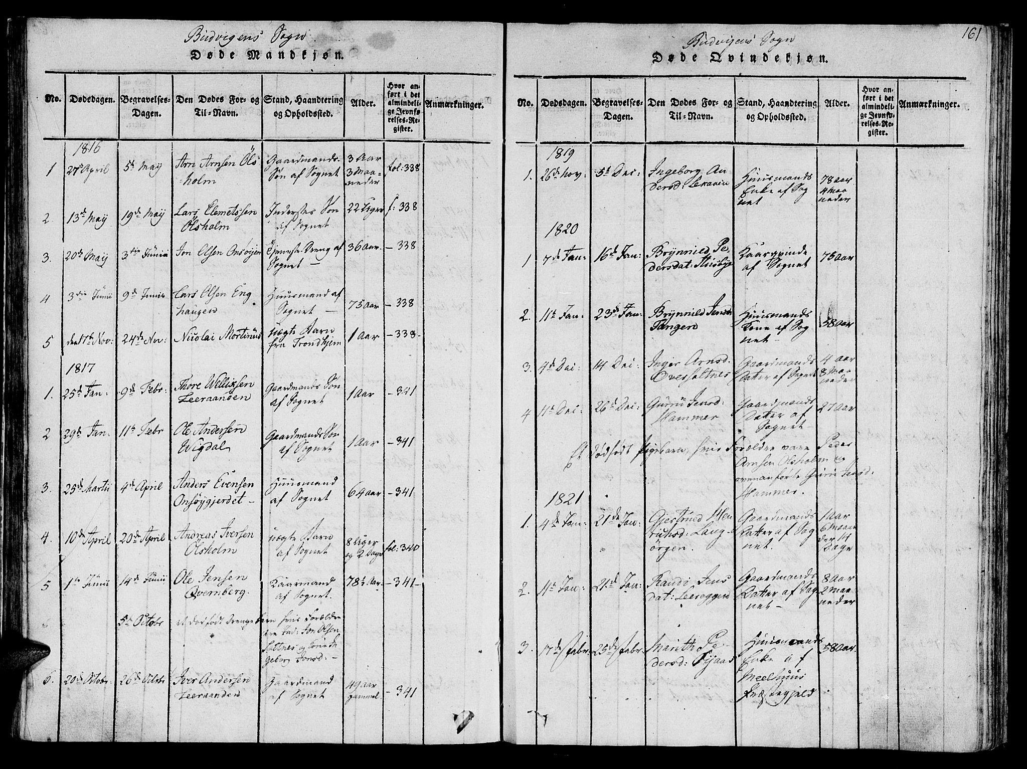 SAT, Ministerialprotokoller, klokkerbøker og fødselsregistre - Sør-Trøndelag, 612/L0373: Ministerialbok nr. 612A06 /2, 1816-1828, s. 161