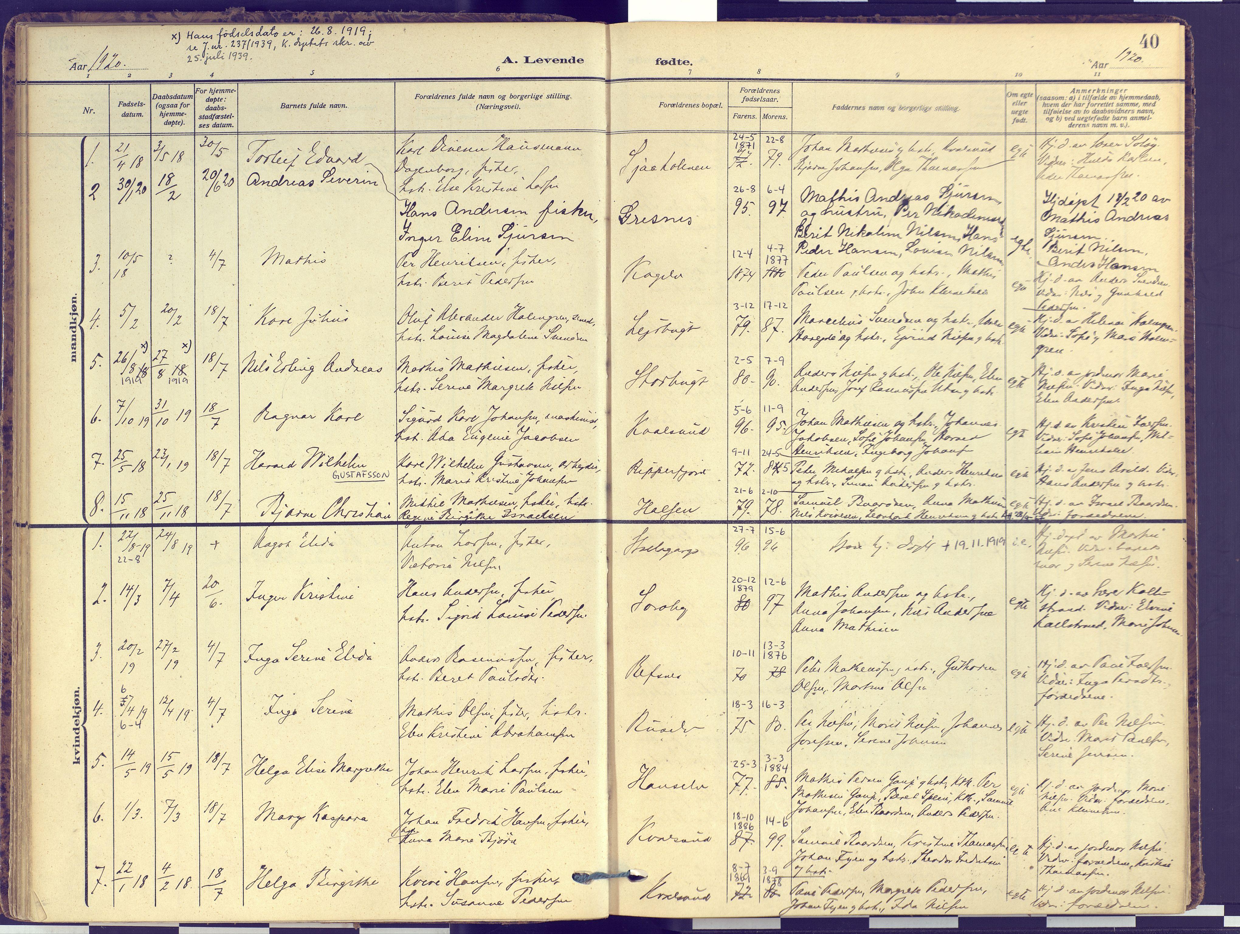 SATØ, Hammerfest sokneprestembete, Ministerialbok nr. 16, 1908-1923, s. 40
