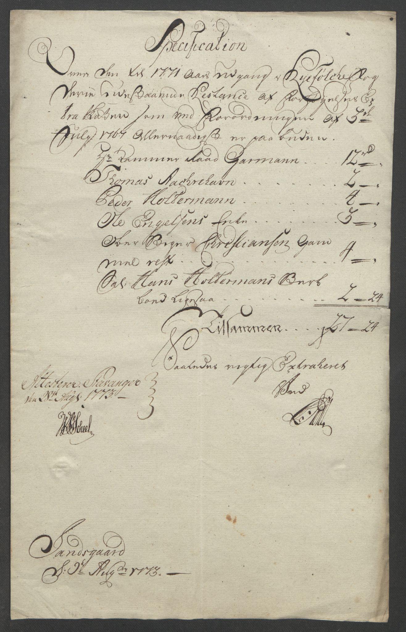 RA, Rentekammeret inntil 1814, Reviderte regnskaper, Fogderegnskap, R47/L2972: Ekstraskatten Ryfylke, 1762-1780, s. 358