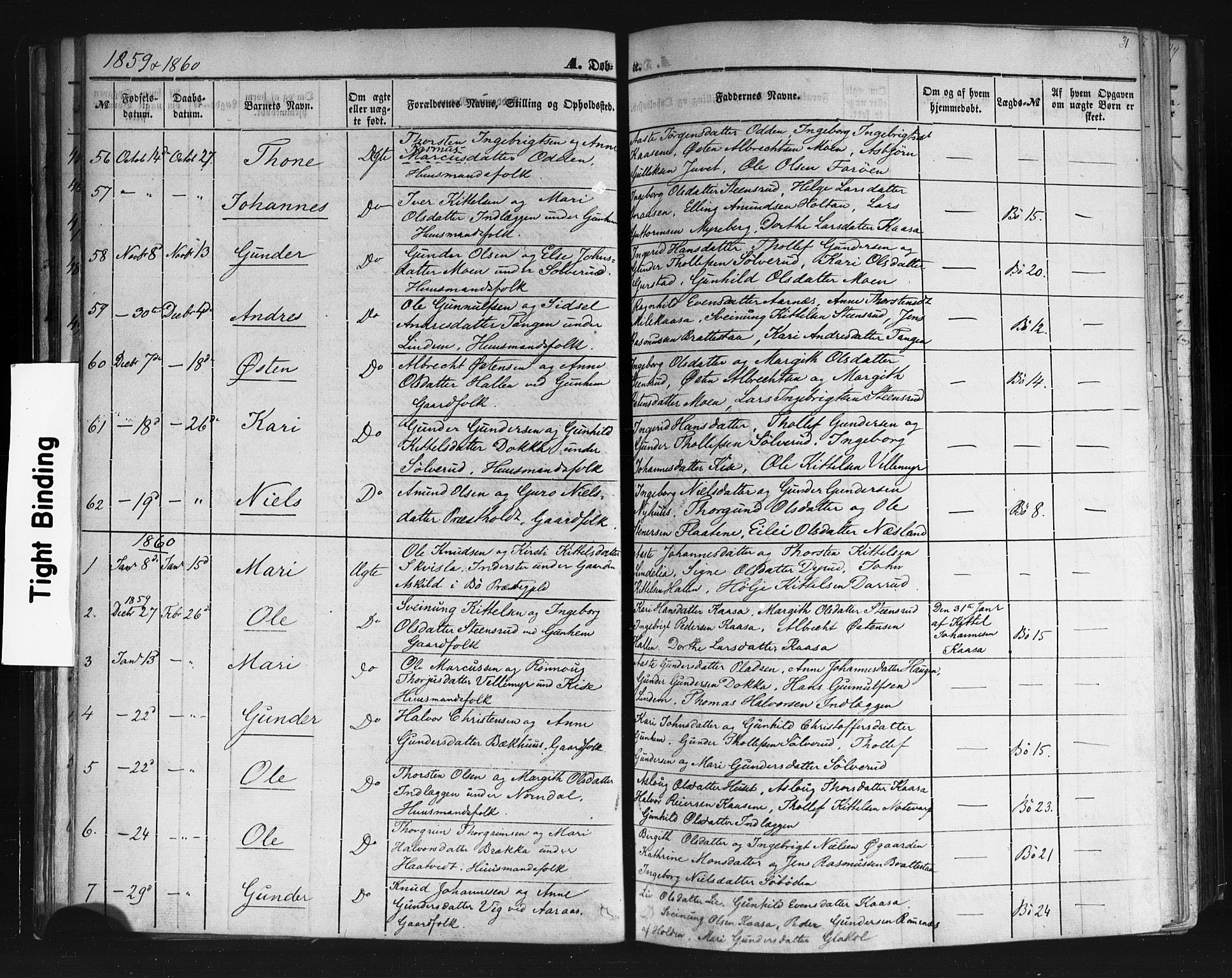 SAKO, Sauherad kirkebøker, F/Fb/L0001: Ministerialbok nr. II 1, 1851-1877, s. 31