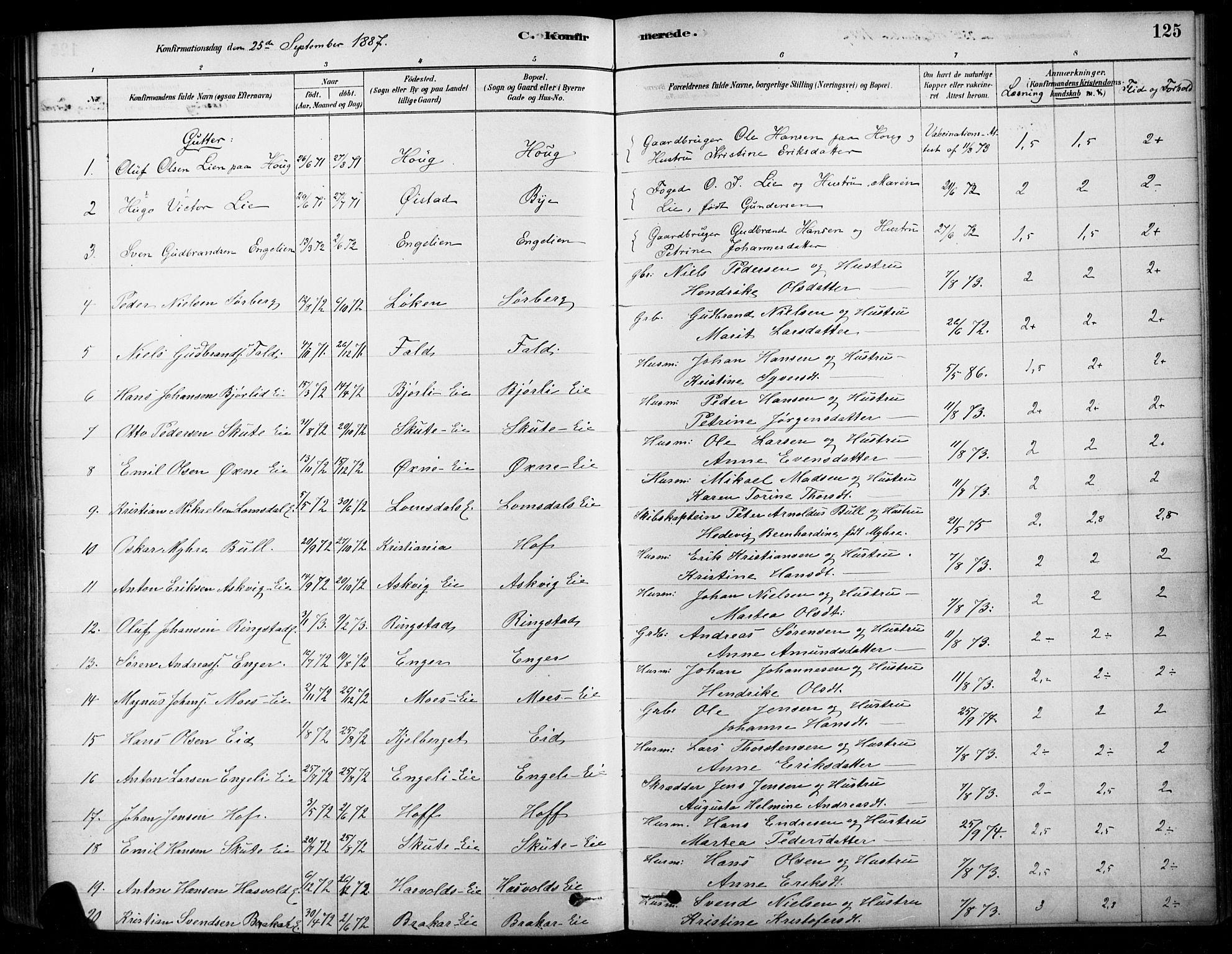 SAH, Søndre Land prestekontor, K/L0003: Ministerialbok nr. 3, 1878-1894, s. 125