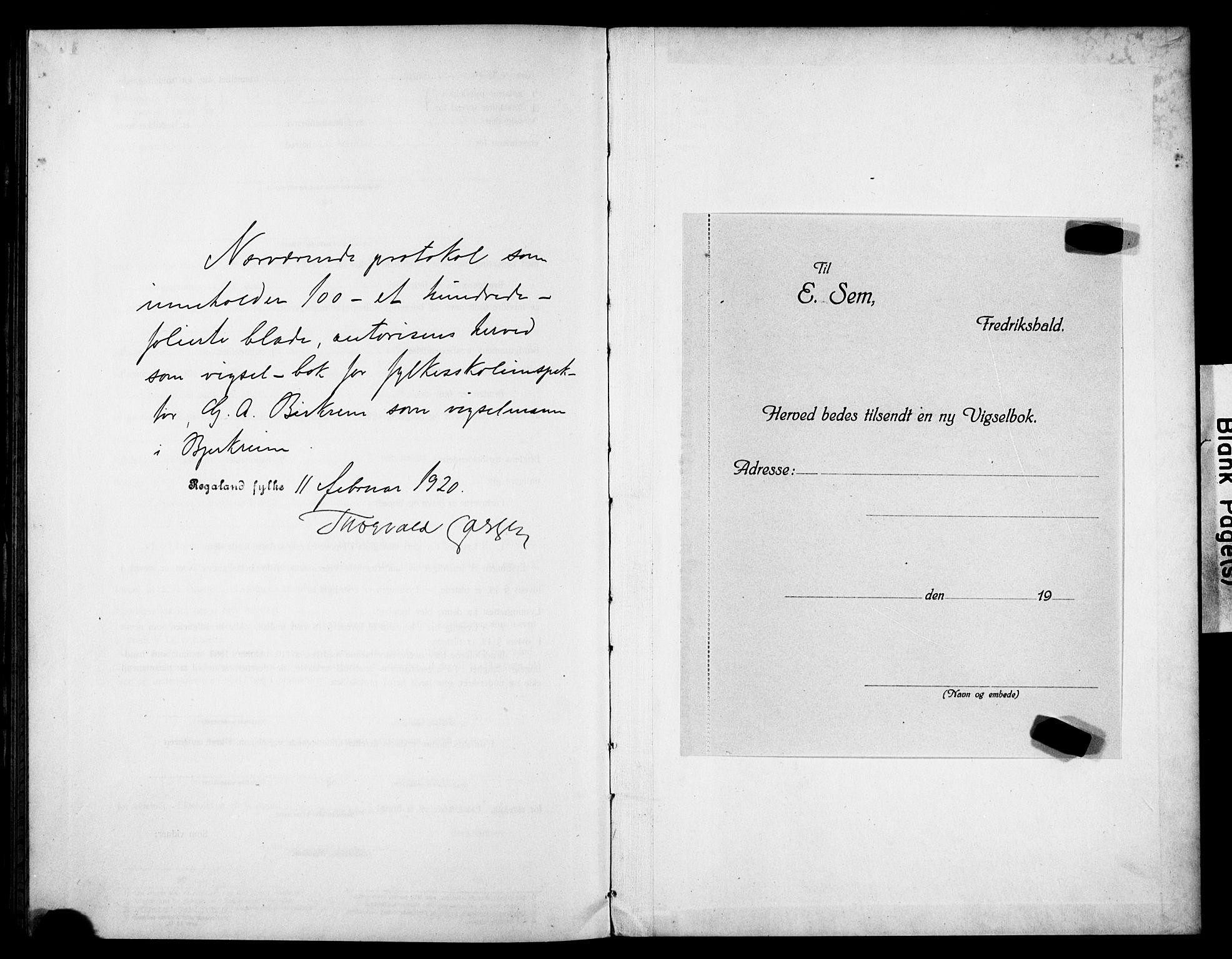 SAST, Helleland sokneprestkontor, Forlovererklæringer nr. 705BAB2, 1920-1920