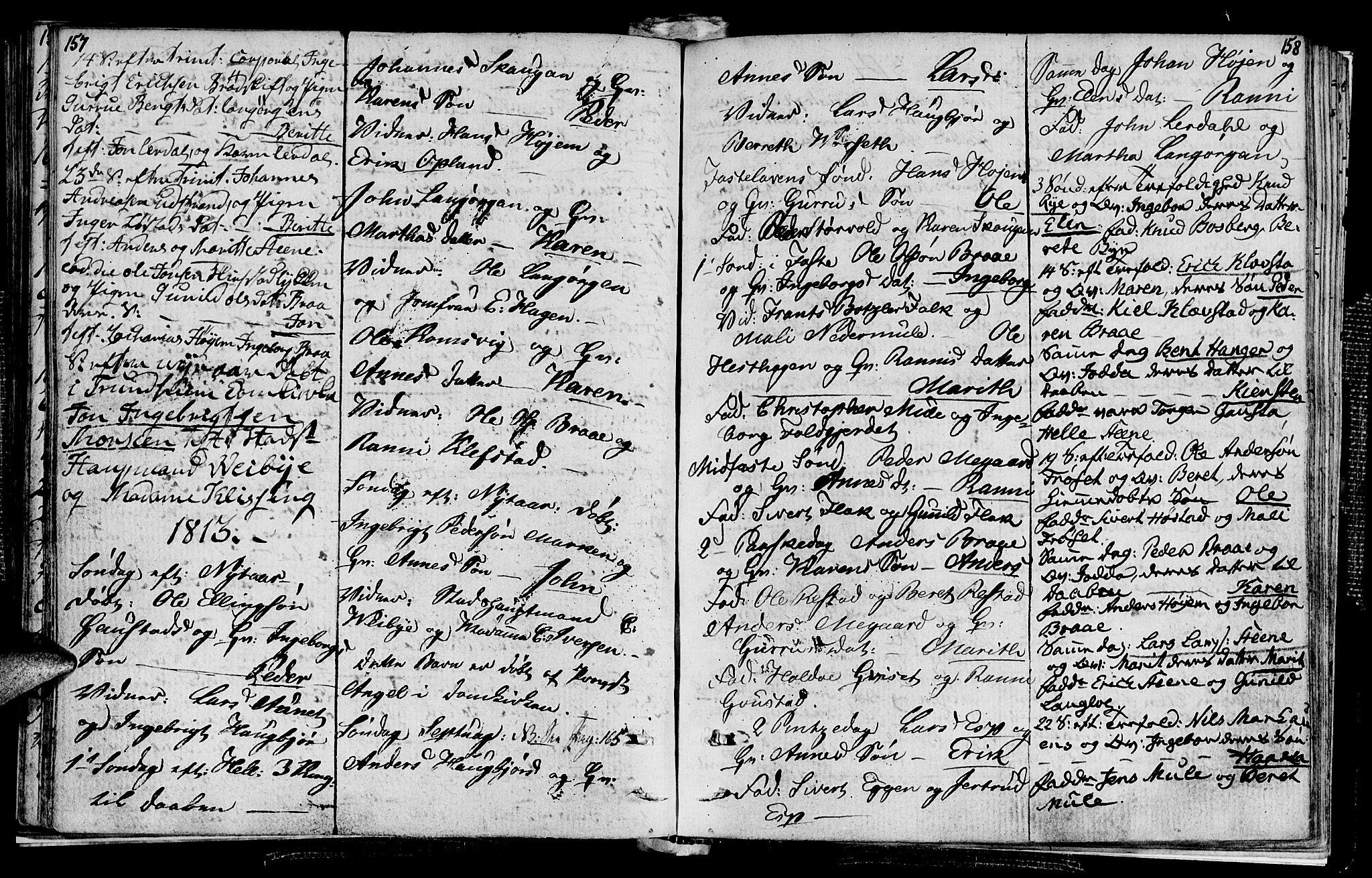 SAT, Ministerialprotokoller, klokkerbøker og fødselsregistre - Sør-Trøndelag, 612/L0371: Ministerialbok nr. 612A05, 1803-1816, s. 157-158